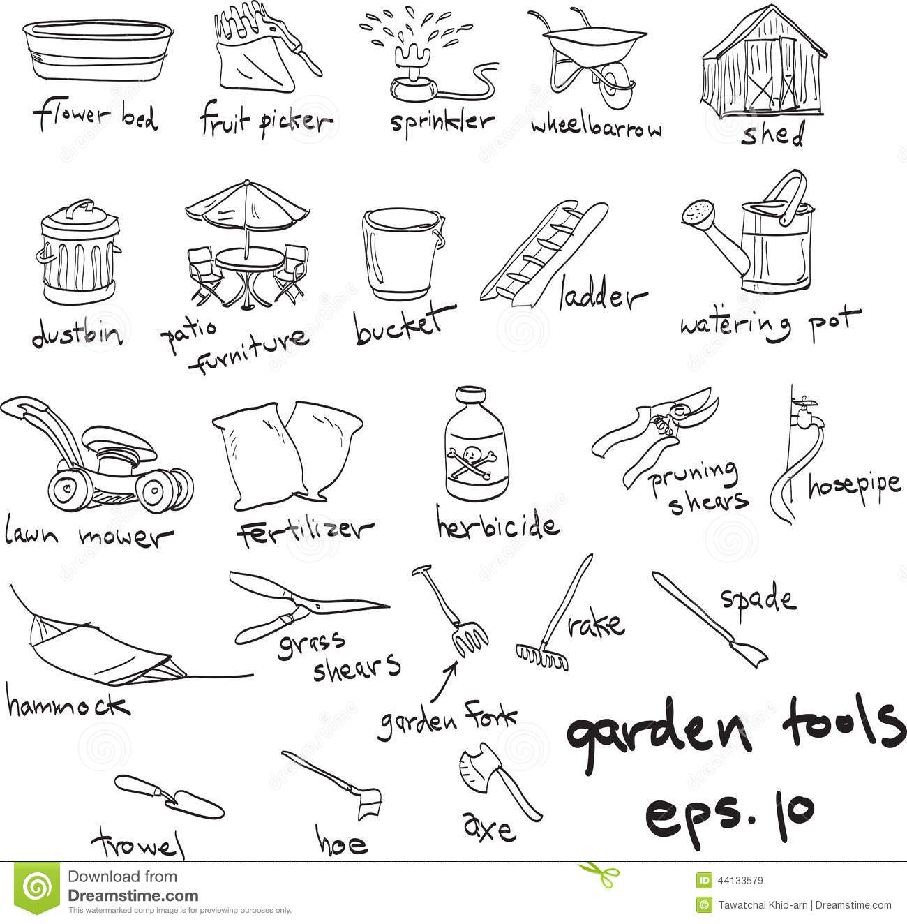 Garden Set Doodles Elements Hand Drawn Sketch With Gardening Tools Flovers And Plants Garden