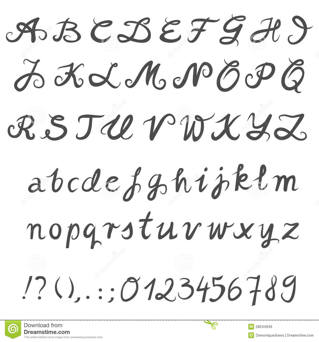 Hand Drawn Gray Letters And Numbers Stock Vector