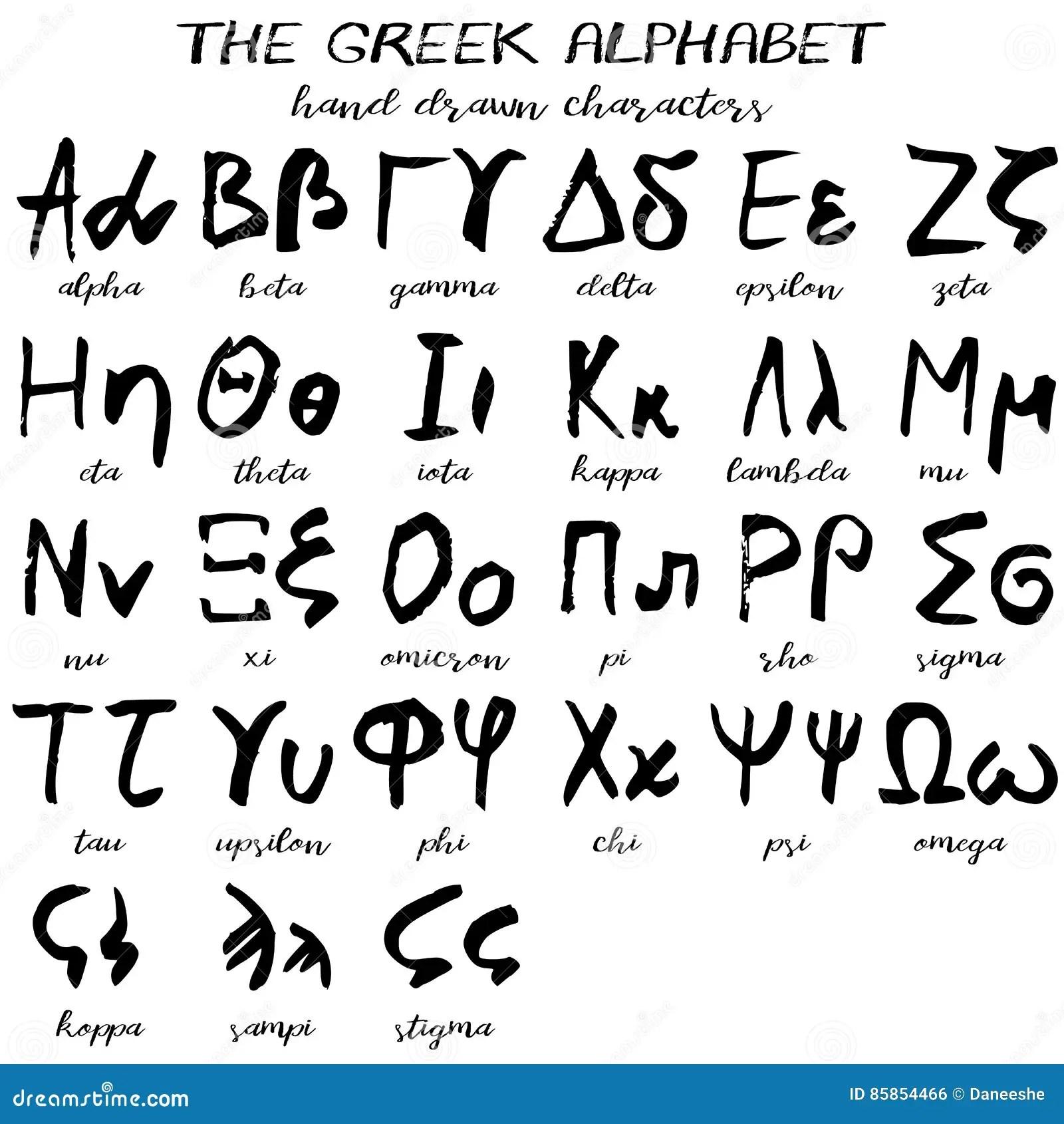 Hand Drawn Grunge Greek Alphabet Stock Vector