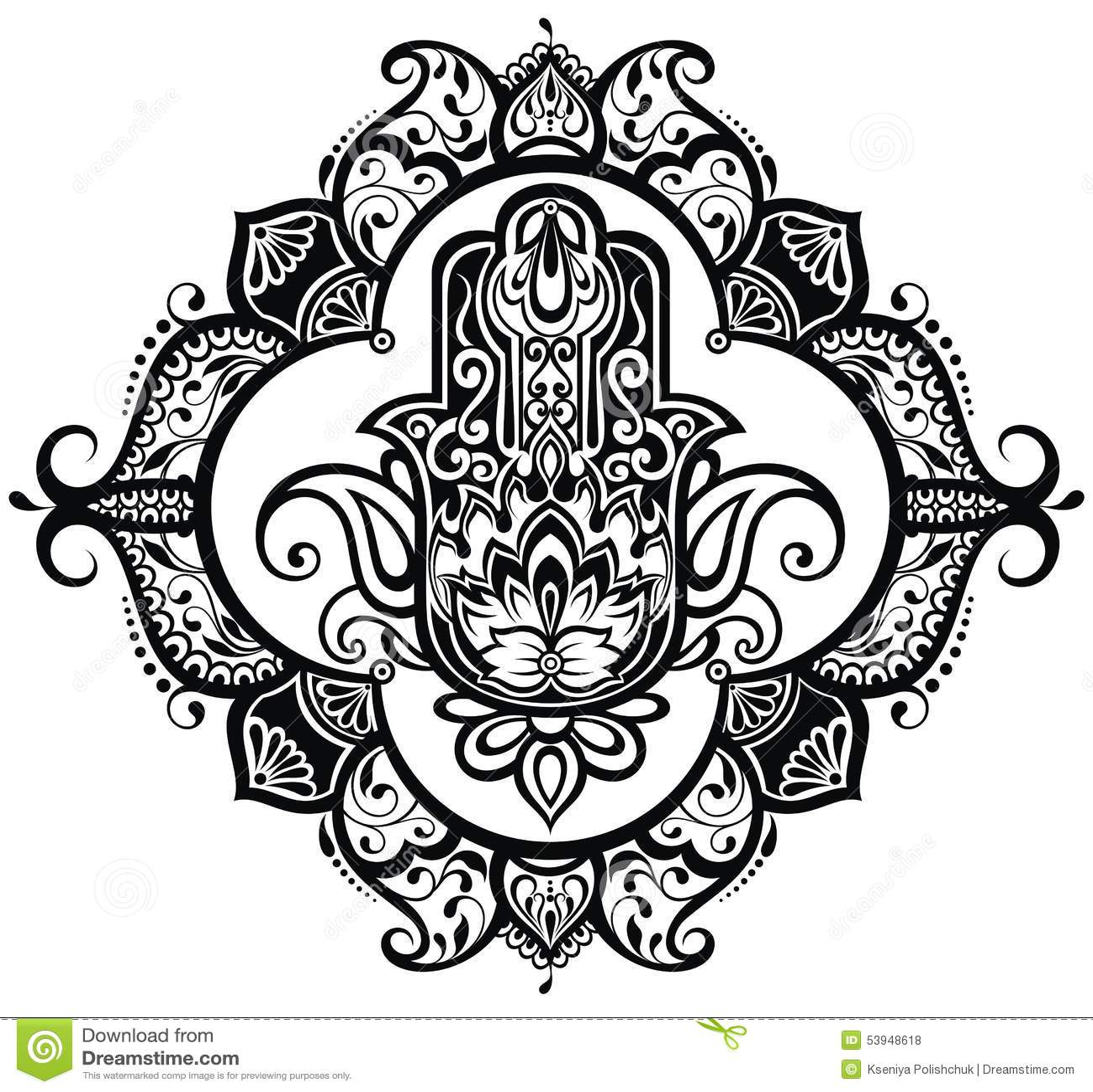 Hand Drawn Hamsa Stock Vector