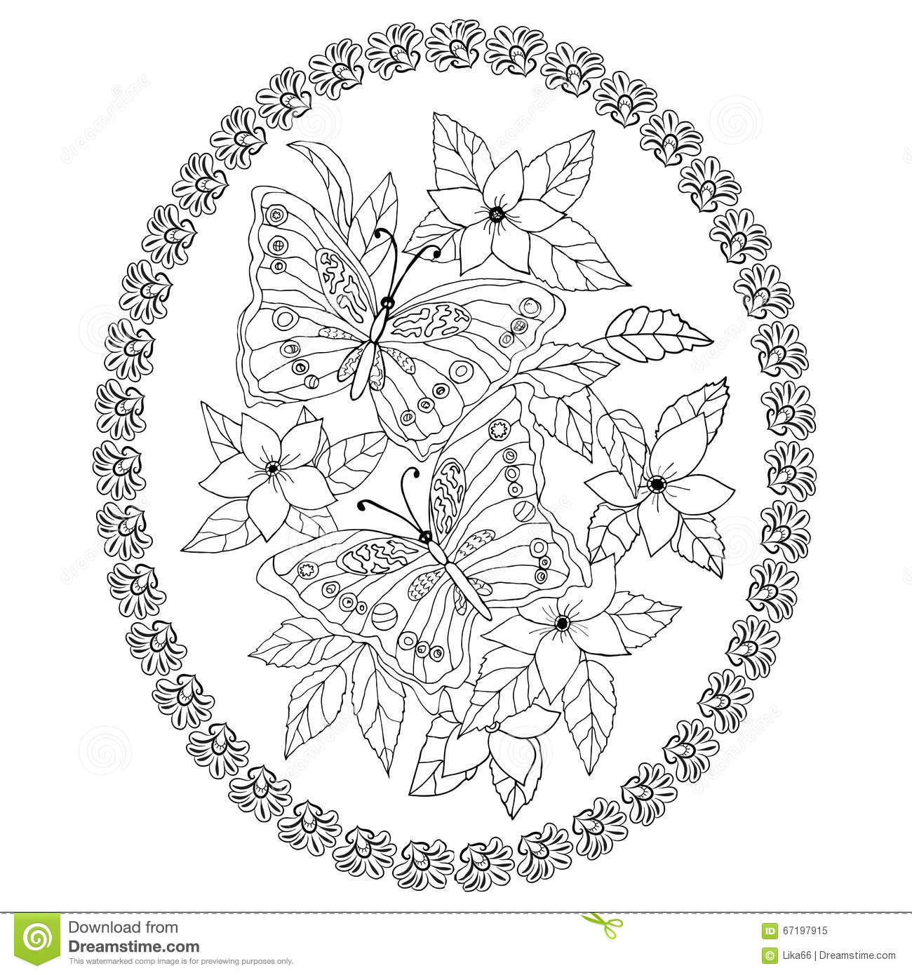 Hand Drawn Illustration Anti Stress Coloring Page Stock