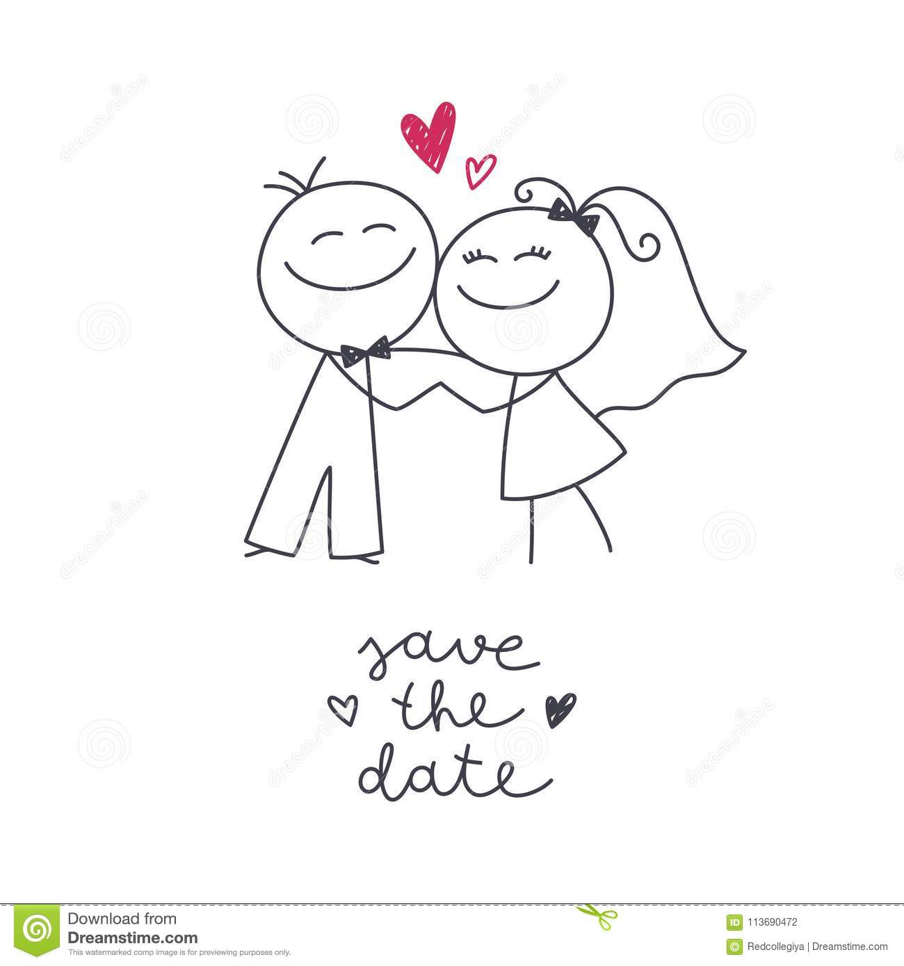 Hand Drawn Bride And Groom Stock Illustration