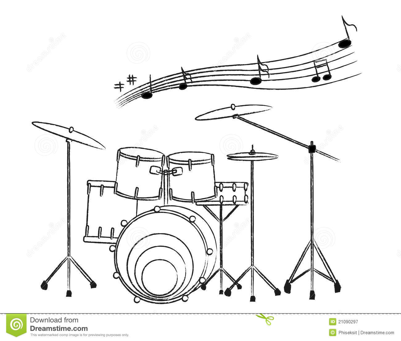 Hand Drawn Illustration Of A Drum Set On White Bac Stock