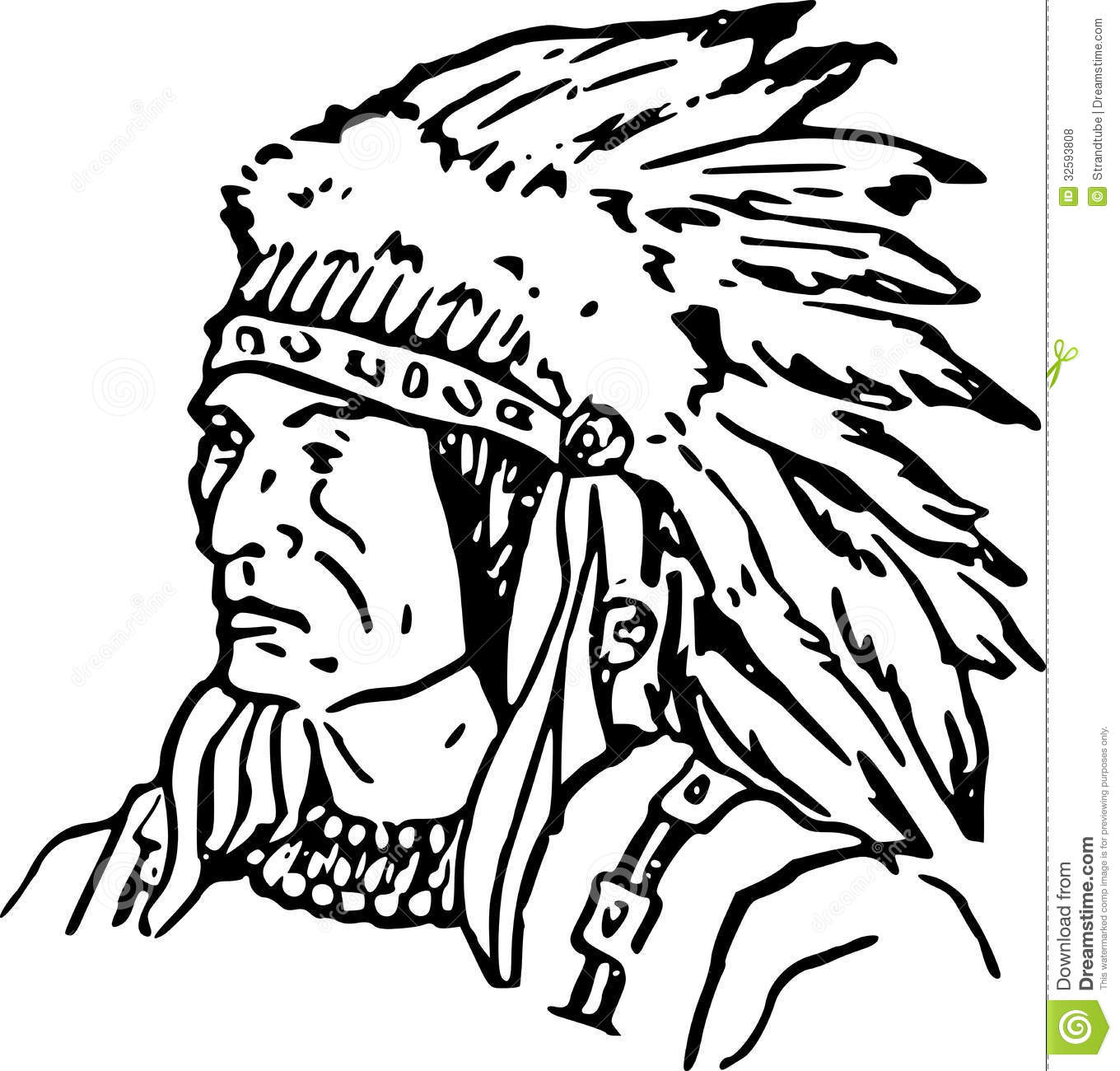 Royalty Free Stock Photos Hand Drawn Indian Chief Eps