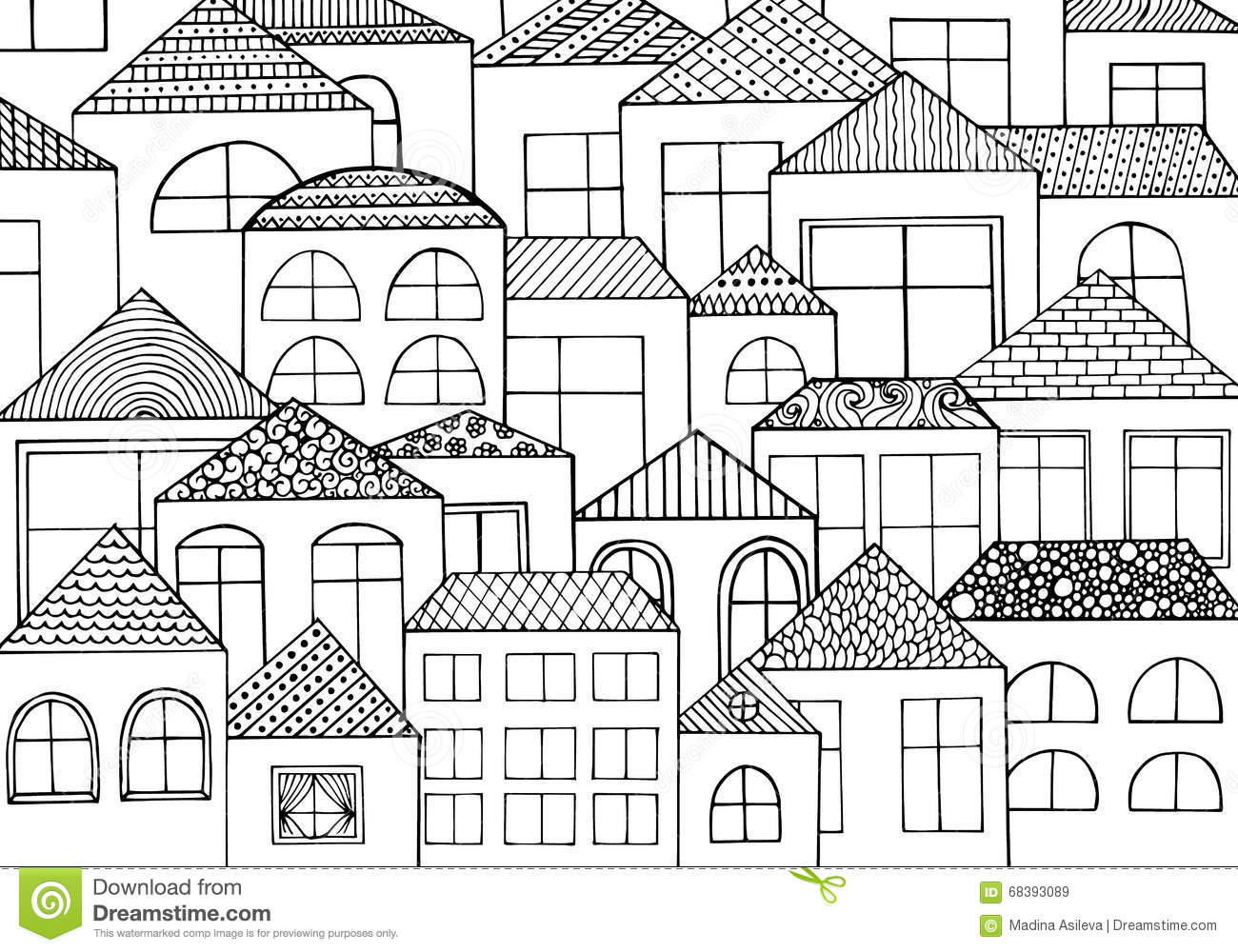 Coloring pages for adults and children book cartoon house in the