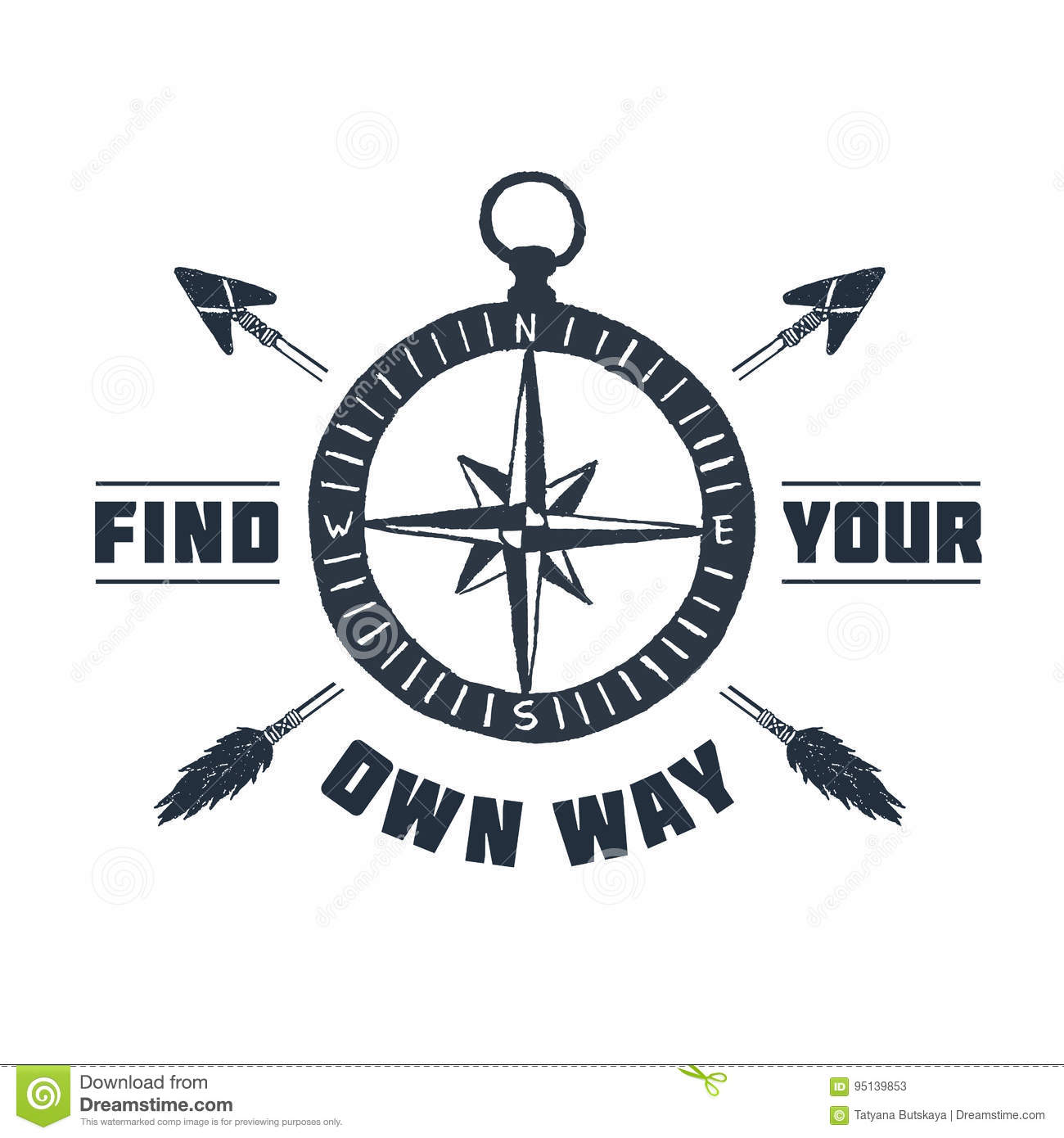 Hand Drawn Inspirational Label With Compass Rose Vector