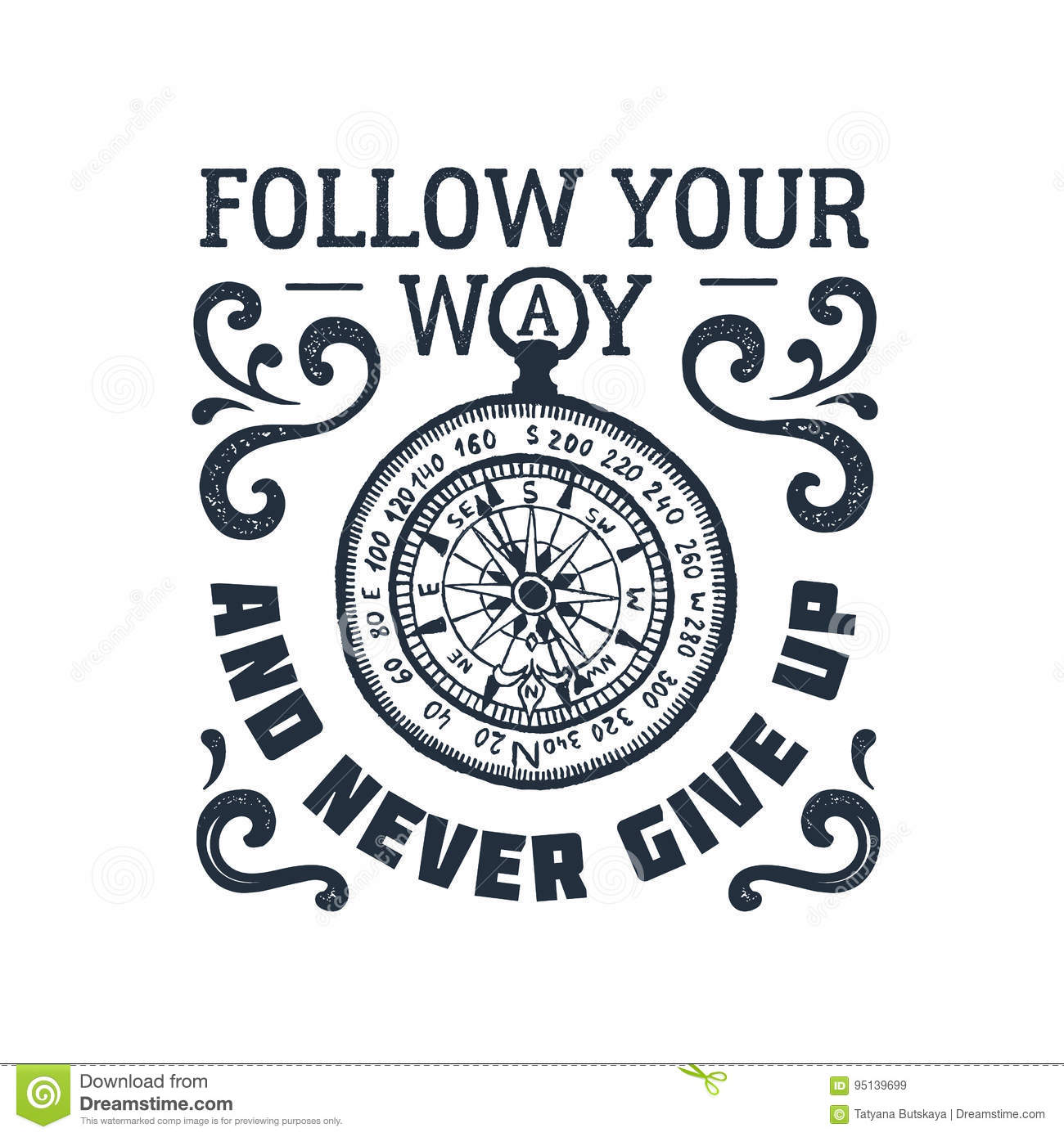 Hand Drawn Inspirational Label With Compass Vector