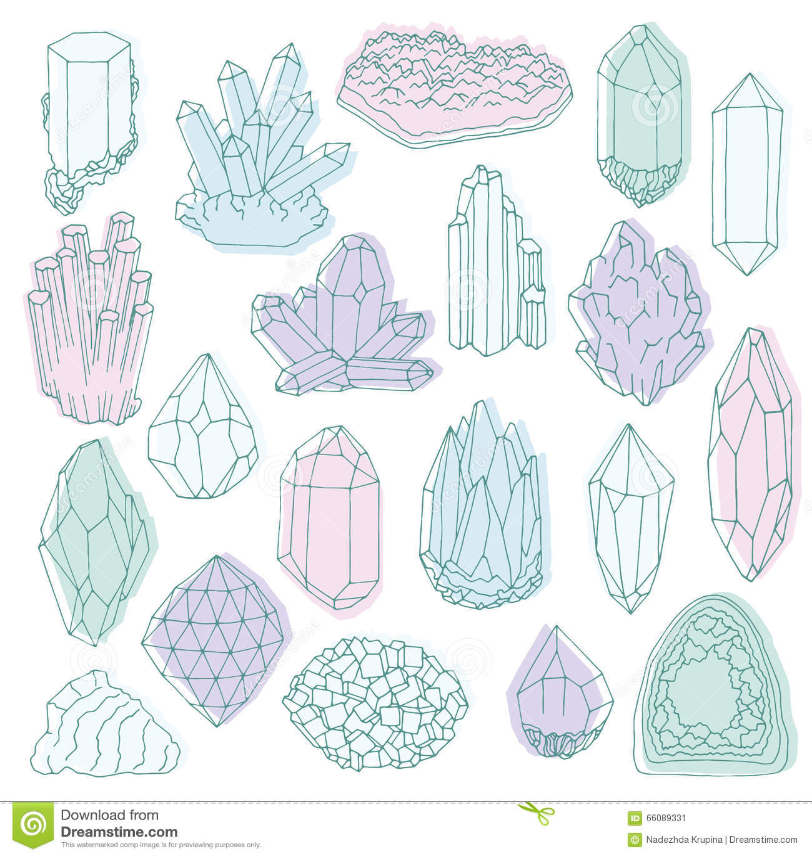 Hand Drawn Line Crystal Mineral Gem Stock Illustration