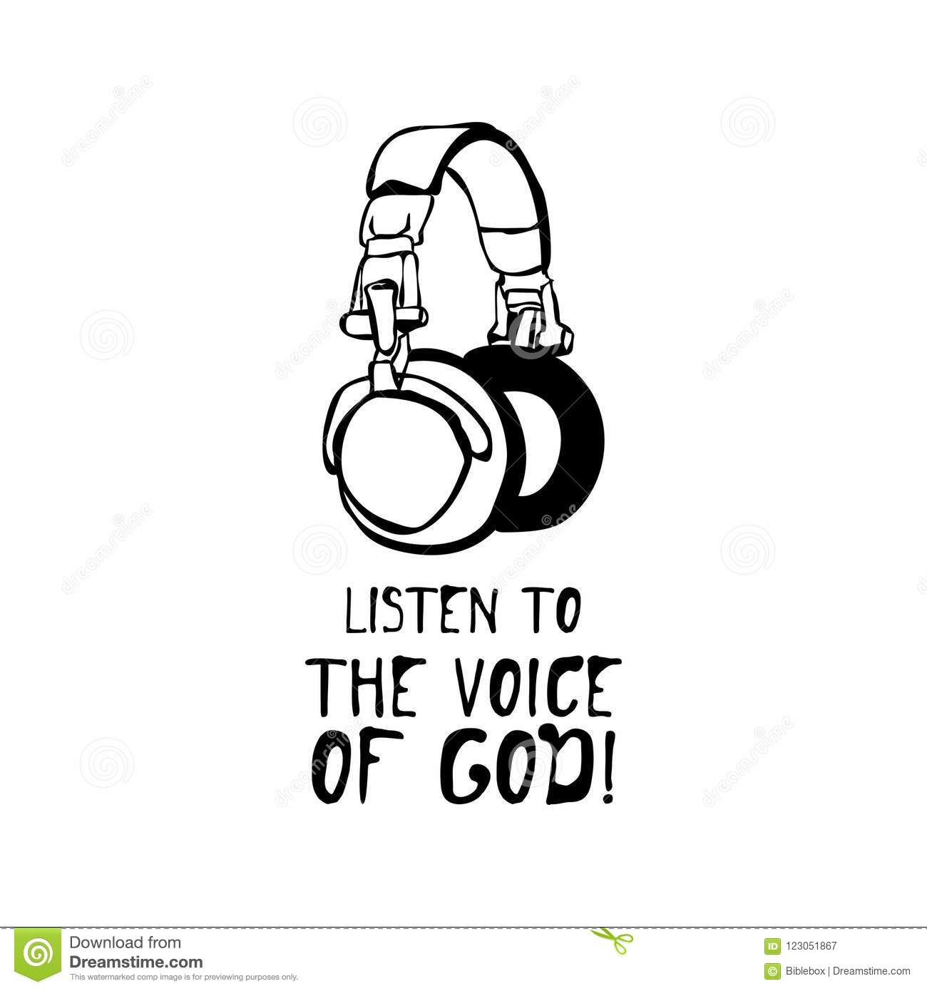 Hand Drawn Listen To The Voice Of God Stock Vector