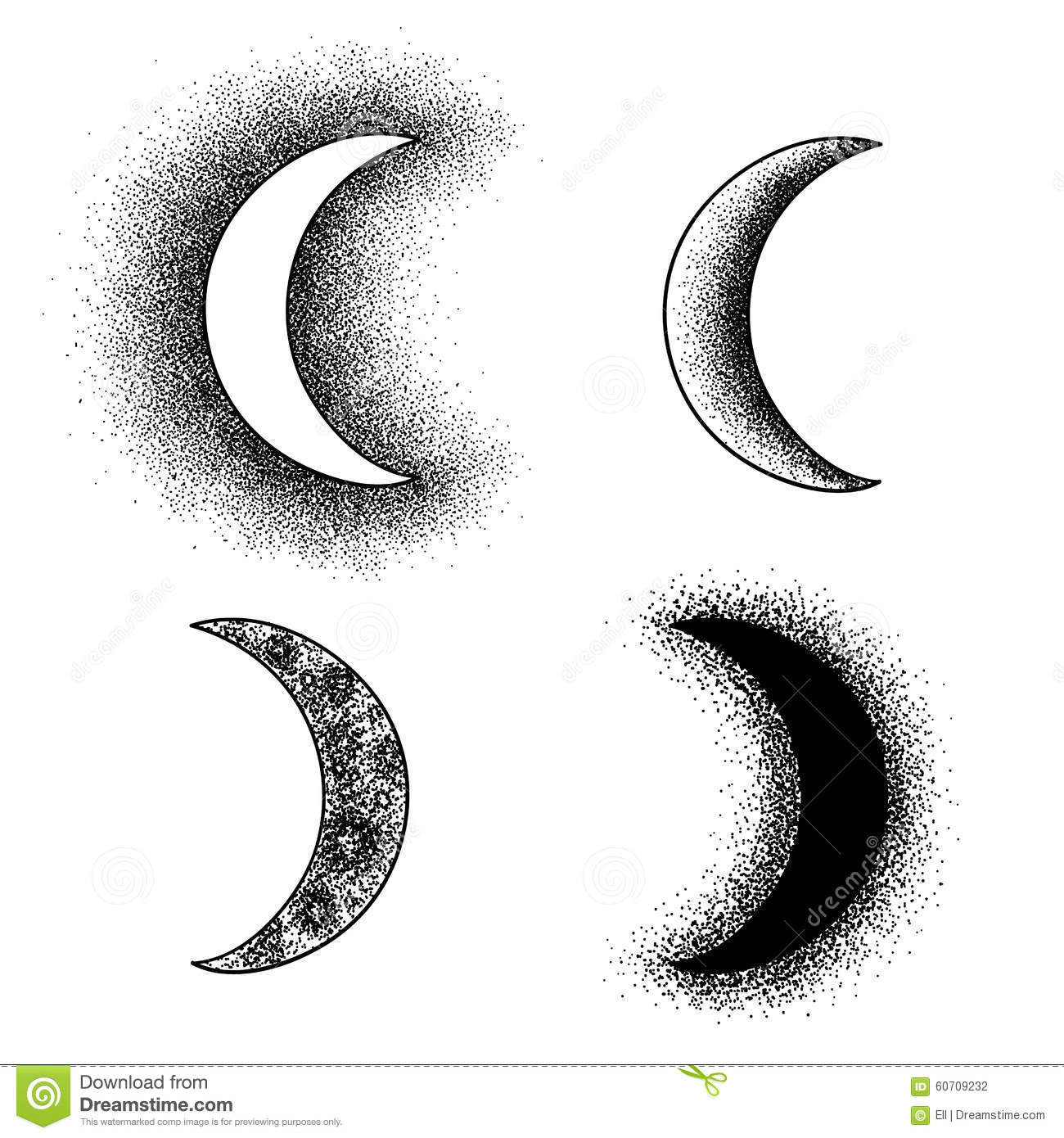 Hand Drawn Moon Phases Silhouettes Stock Vector