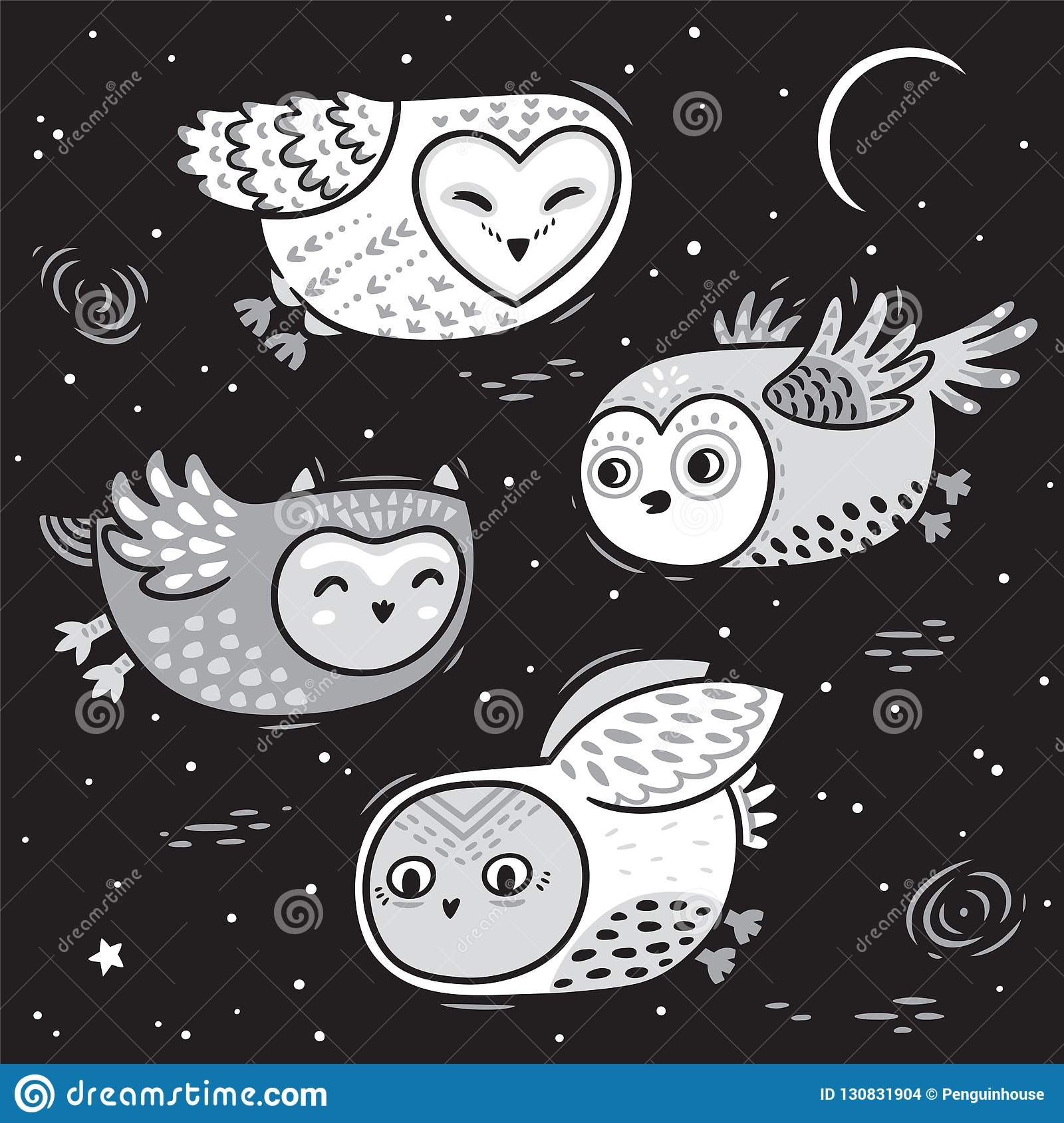 Hand Drawn Night Card With Cute Little Flying Owls Stock