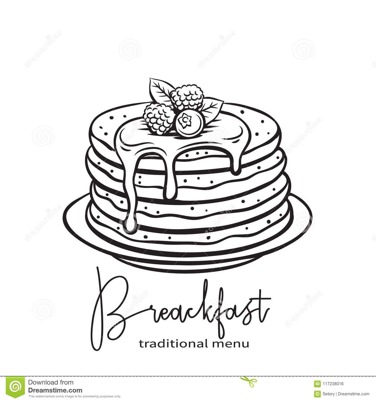 Hand Drawn Pancakes Stock Vector Illustration Of Food
