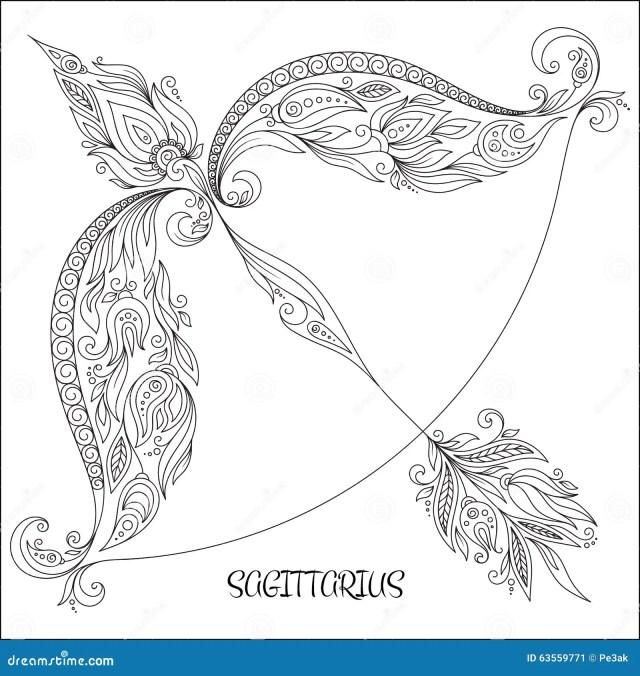 Hand Drawn Pattern for Coloring Book Zodiac Sagittarius. Stock