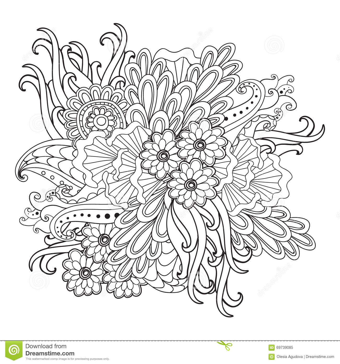Hand Drawn Patterned Floral Frame In Doodle Style Stock