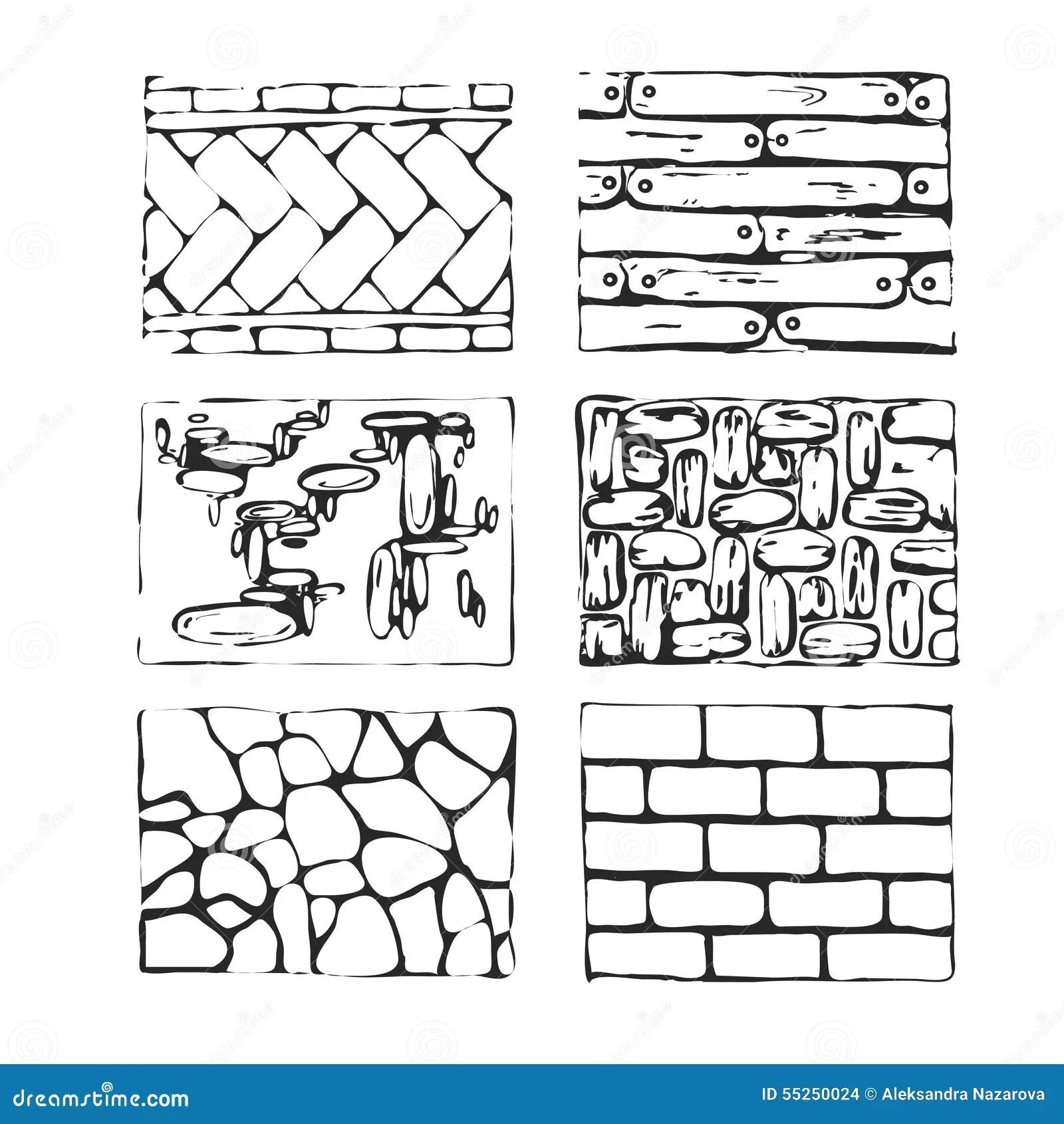 Hand Drawn Paving Stones And Blocks Stock Vector