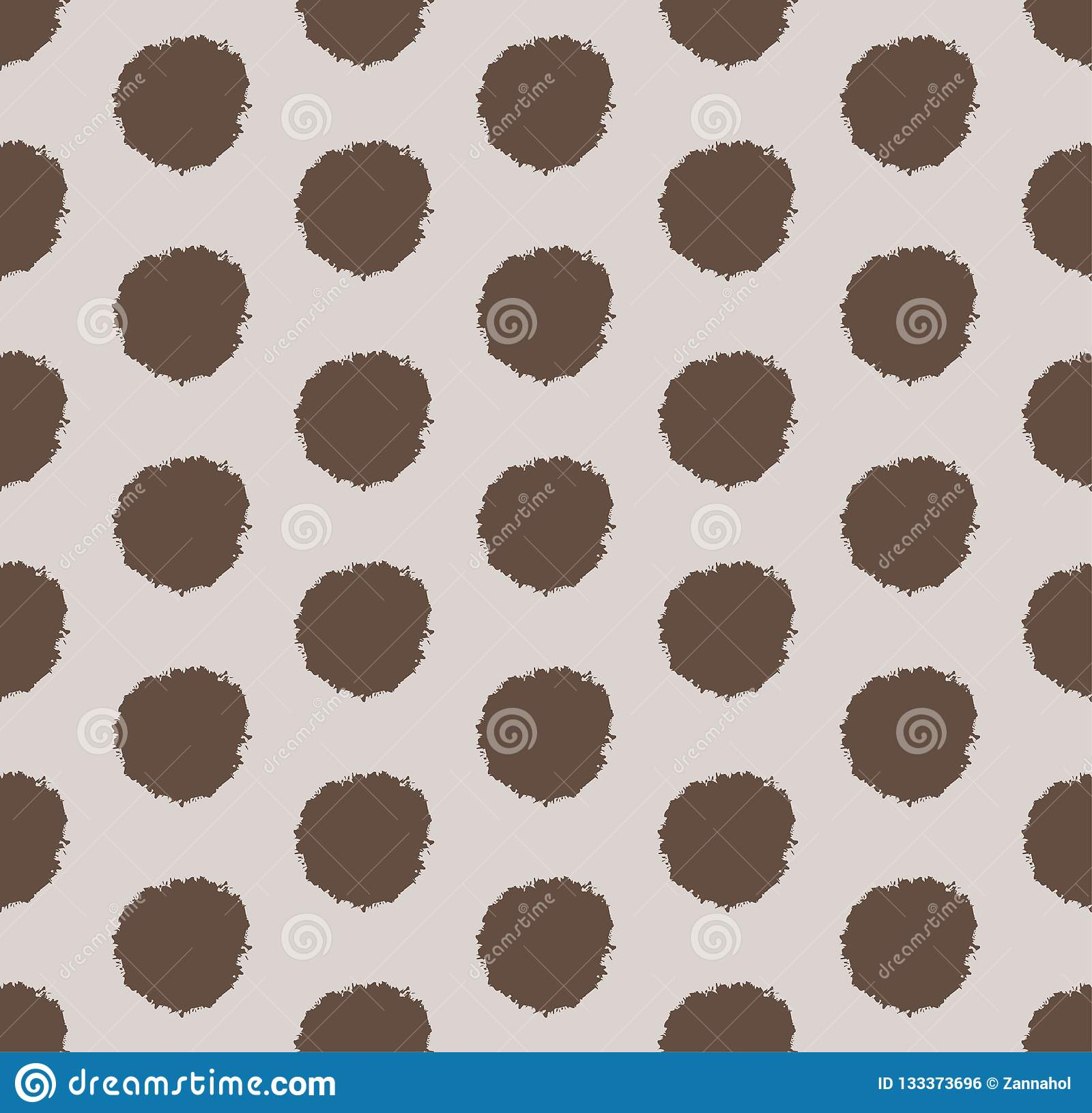 Hand Drawn Polka Dot Background With Round Brush Strokes