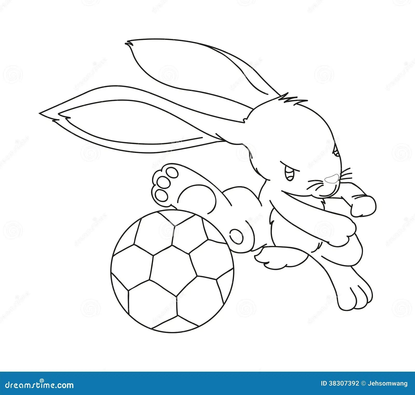 Hand Drawn Rabbit Playing Football Stock Vector