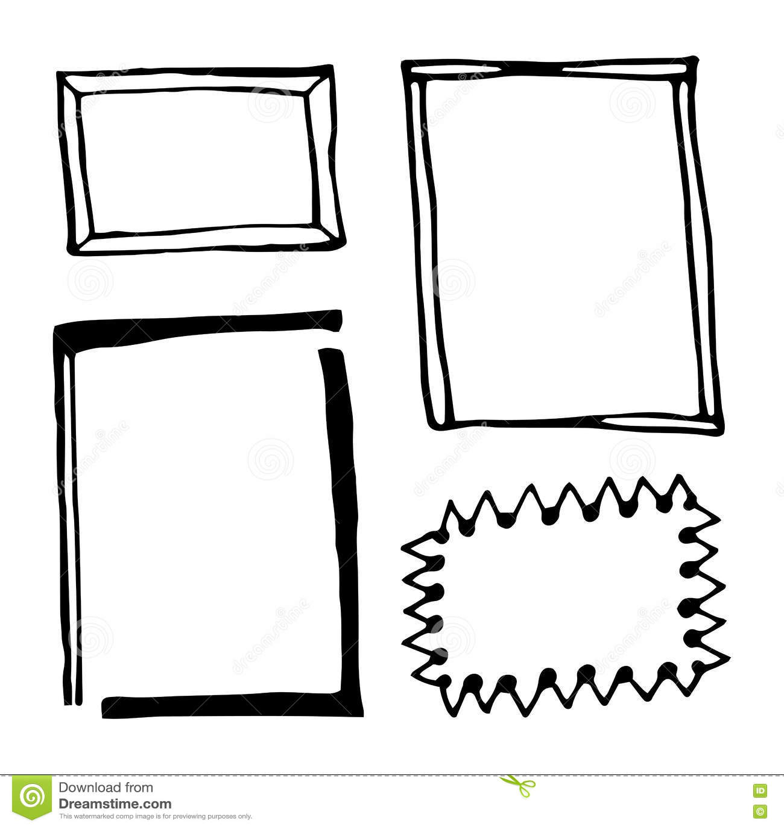 Hand Drawn Rectangle Frames Set Stock Vector