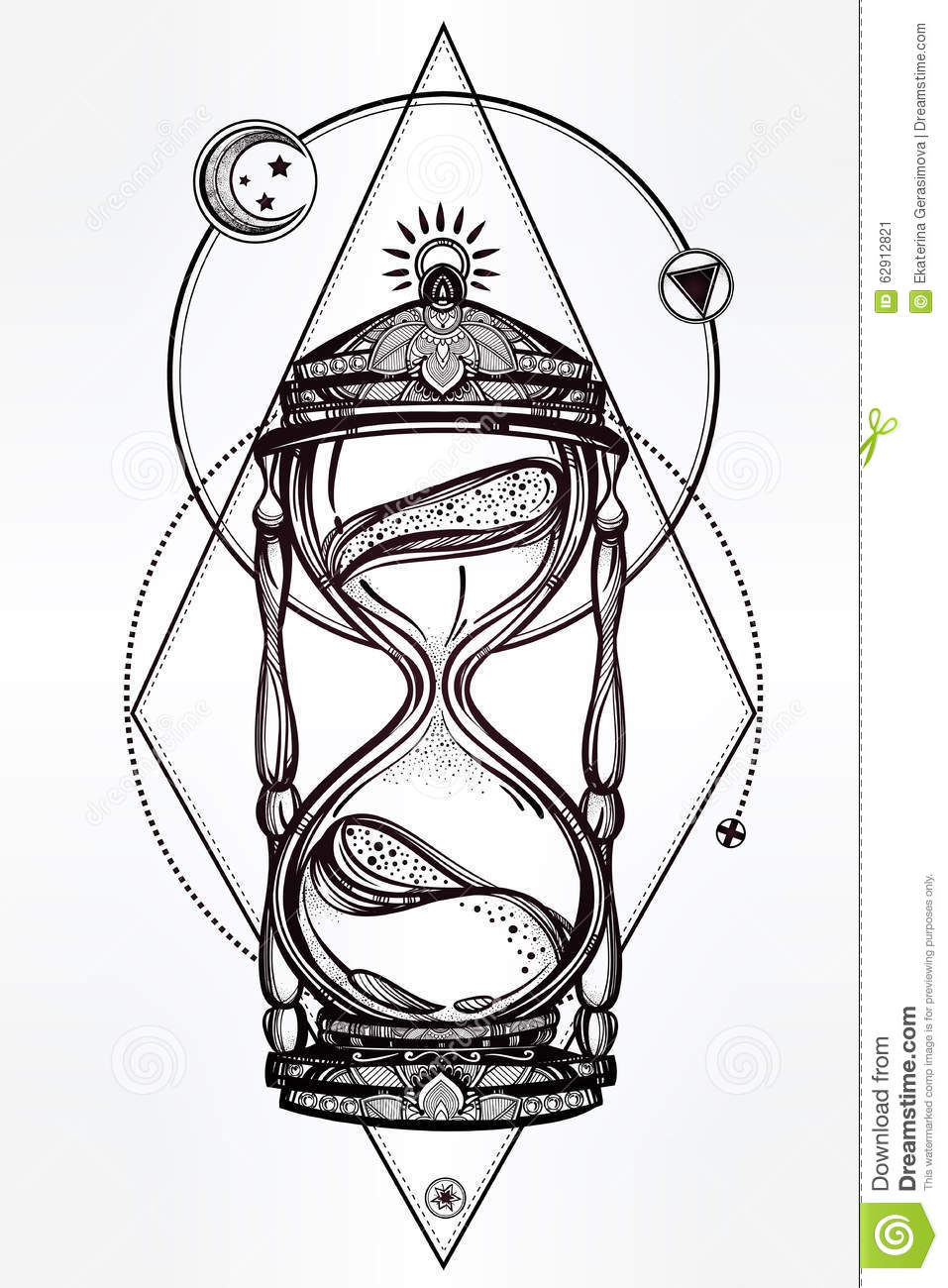 Hand Drawn Romantic Design Of A Hourglass Stock Vector