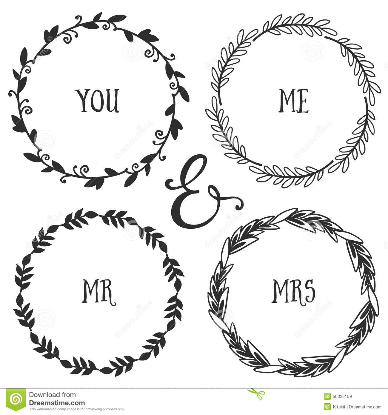 Big Vector Wreaths Arrows Flowers Set Collection Of