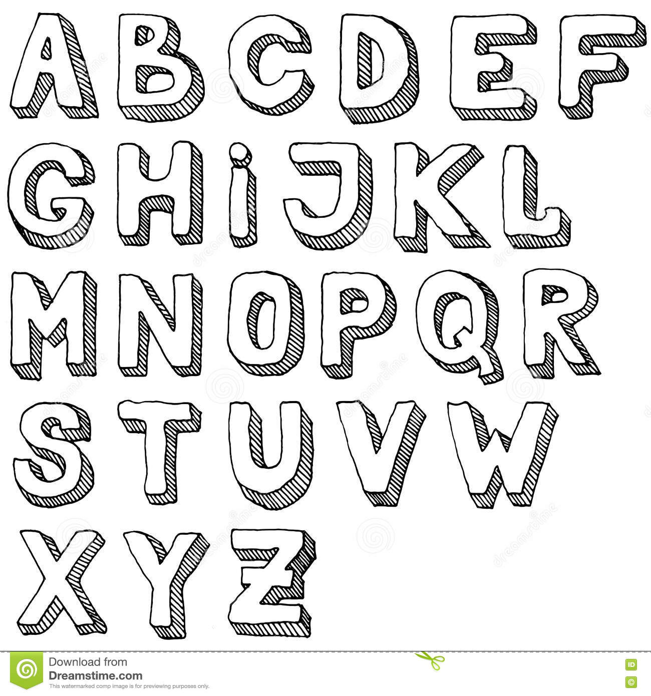 Hand Drawn Set Of Abc Letters Free Hand Alphabet