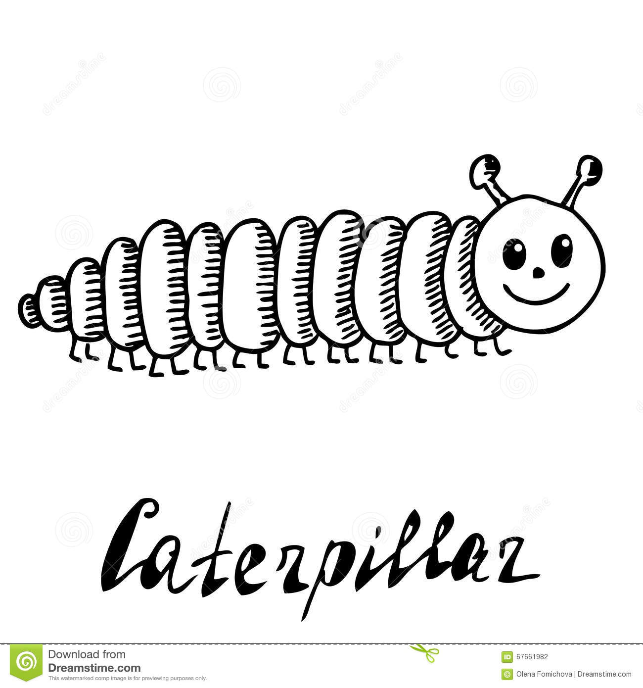 Hand Drawn Sketch Cartoon Illustration Of Caterpillar