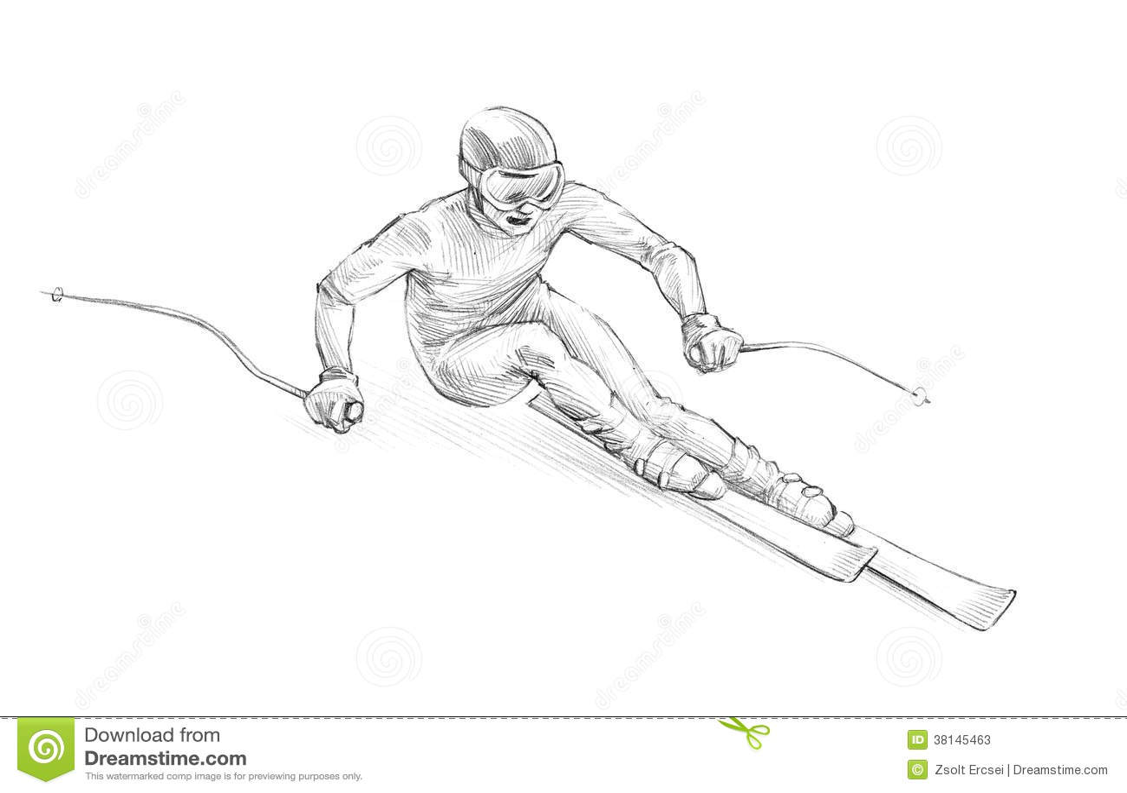Hand Drawn Sketch Pencil Illustration Of An Alpine Skier