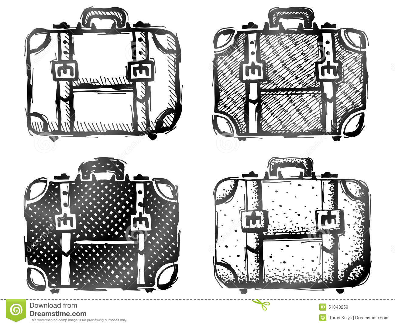 Hand Drawn Suitcase Stock Vector