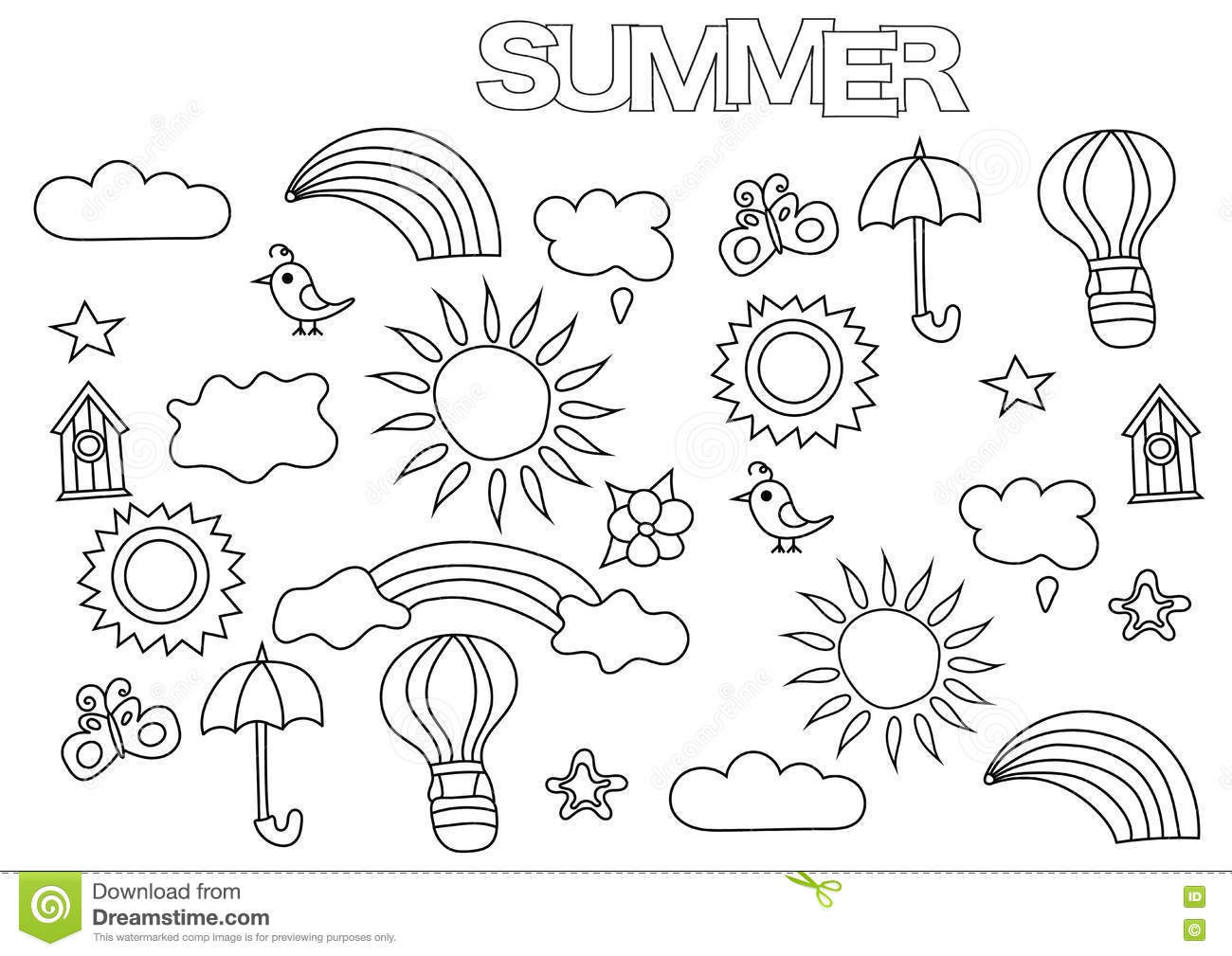 Hand Drawn Summer Weather Set Coloring Book Page Template