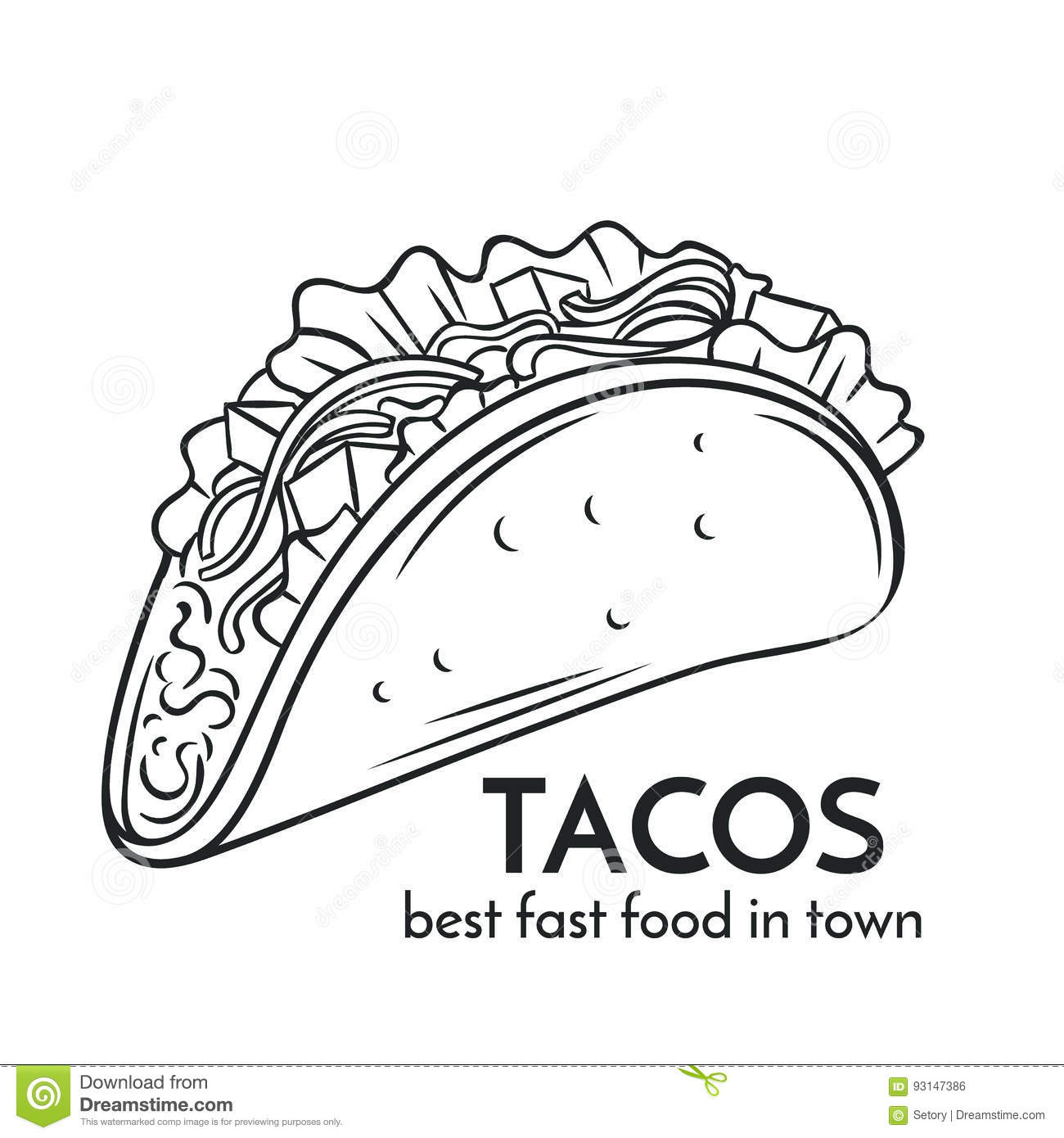 Hand Drawn Tacos Icon Stock Vector Illustration Of