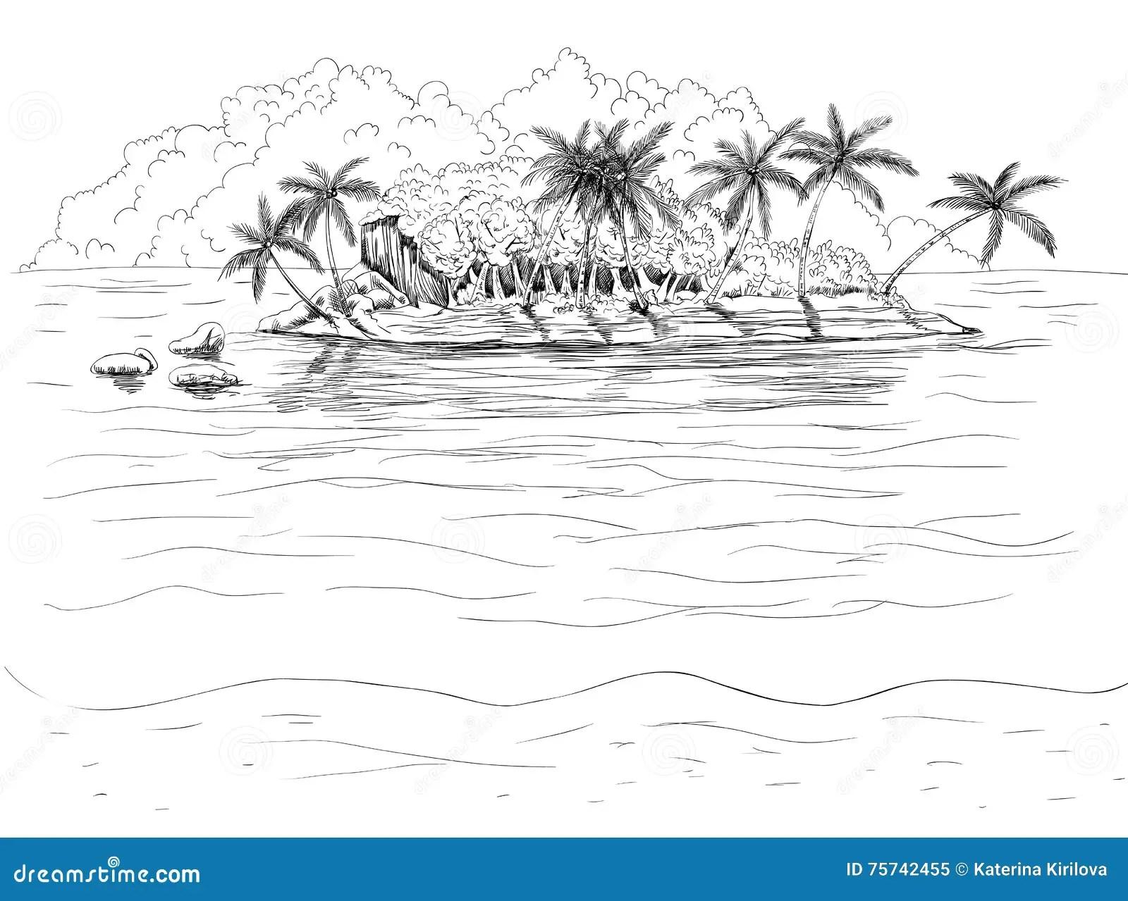 Hand Drawn Tropical Island Stock Vector