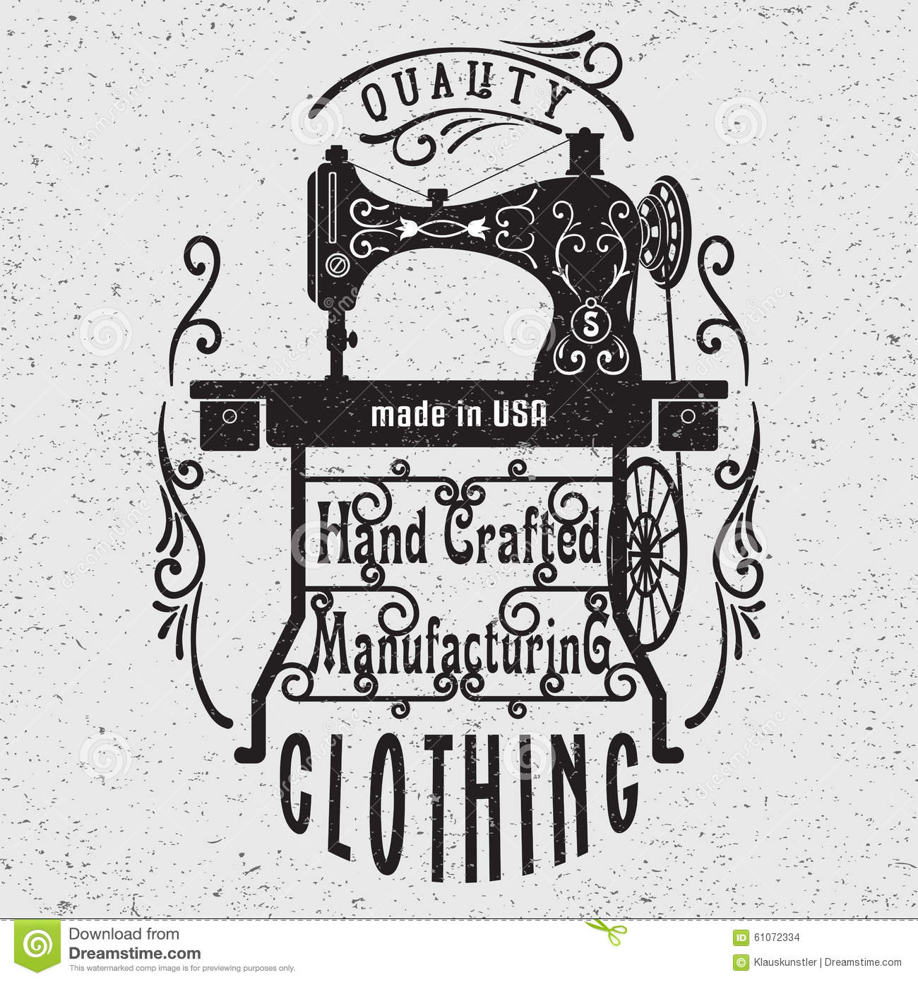 Hand Drawn Typography Poster With Vintage Sewing Machine