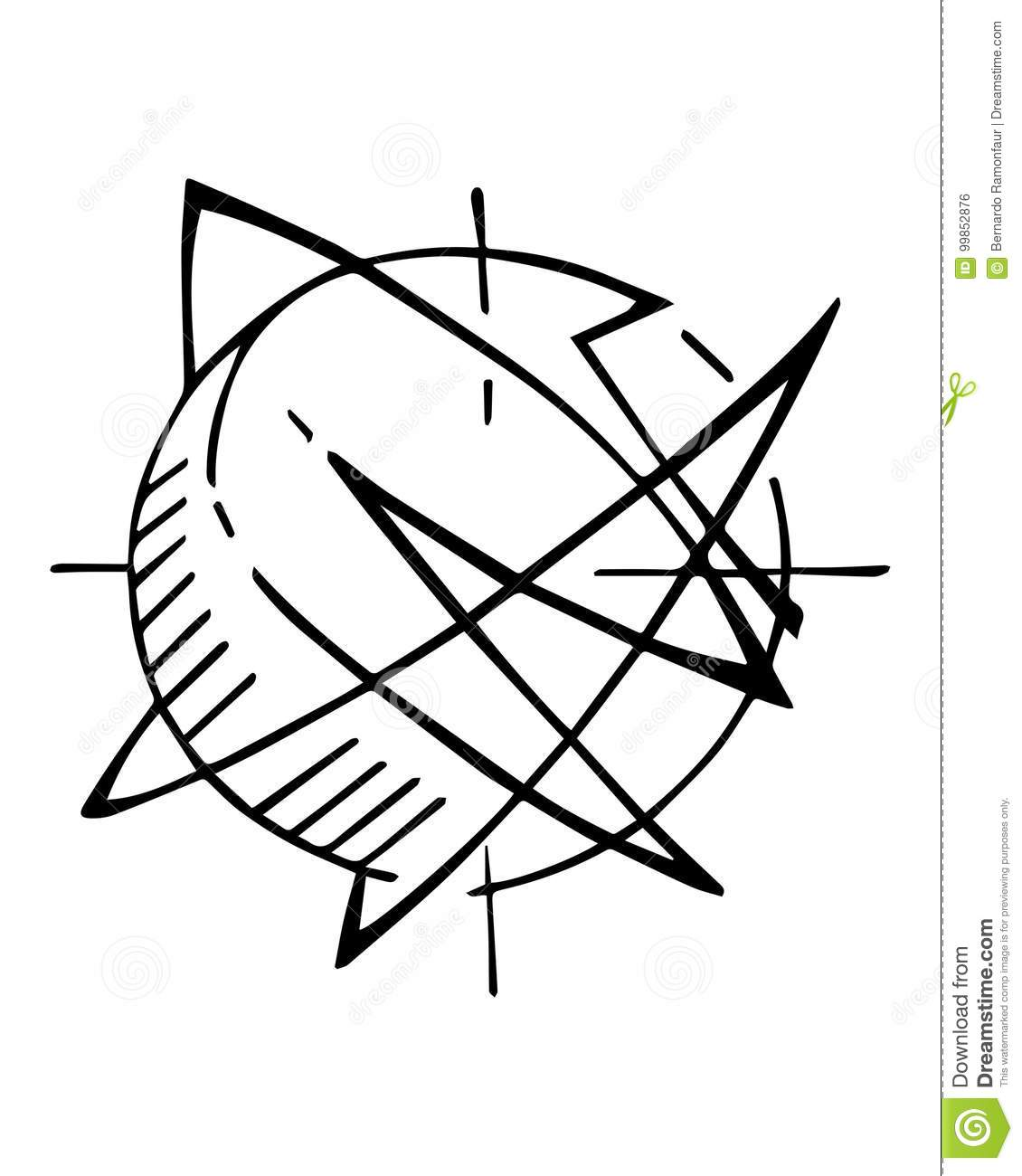 Abstract Planet Or Atom Symbol Vector Ink Illustration