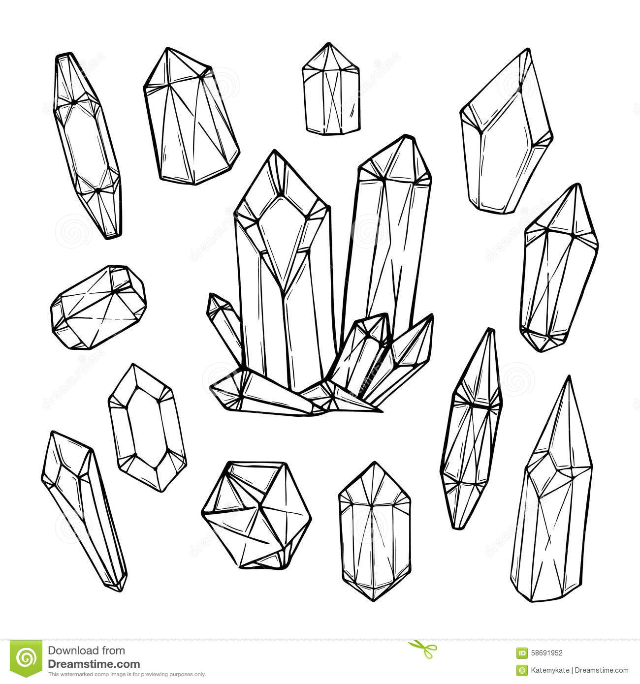 Set Of Hand Drawn Crystals And Minerals. Trendy Hipster