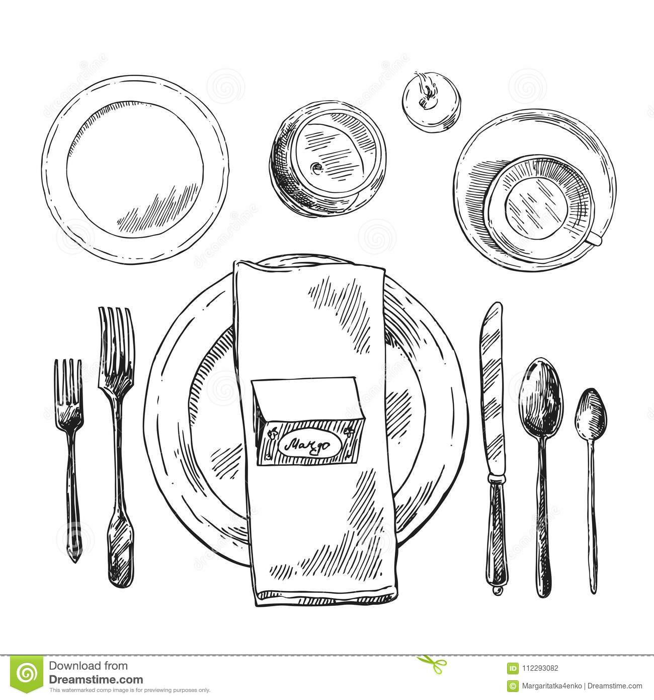 Hand Drawn Vector Illustration Table Setting Stock Vector