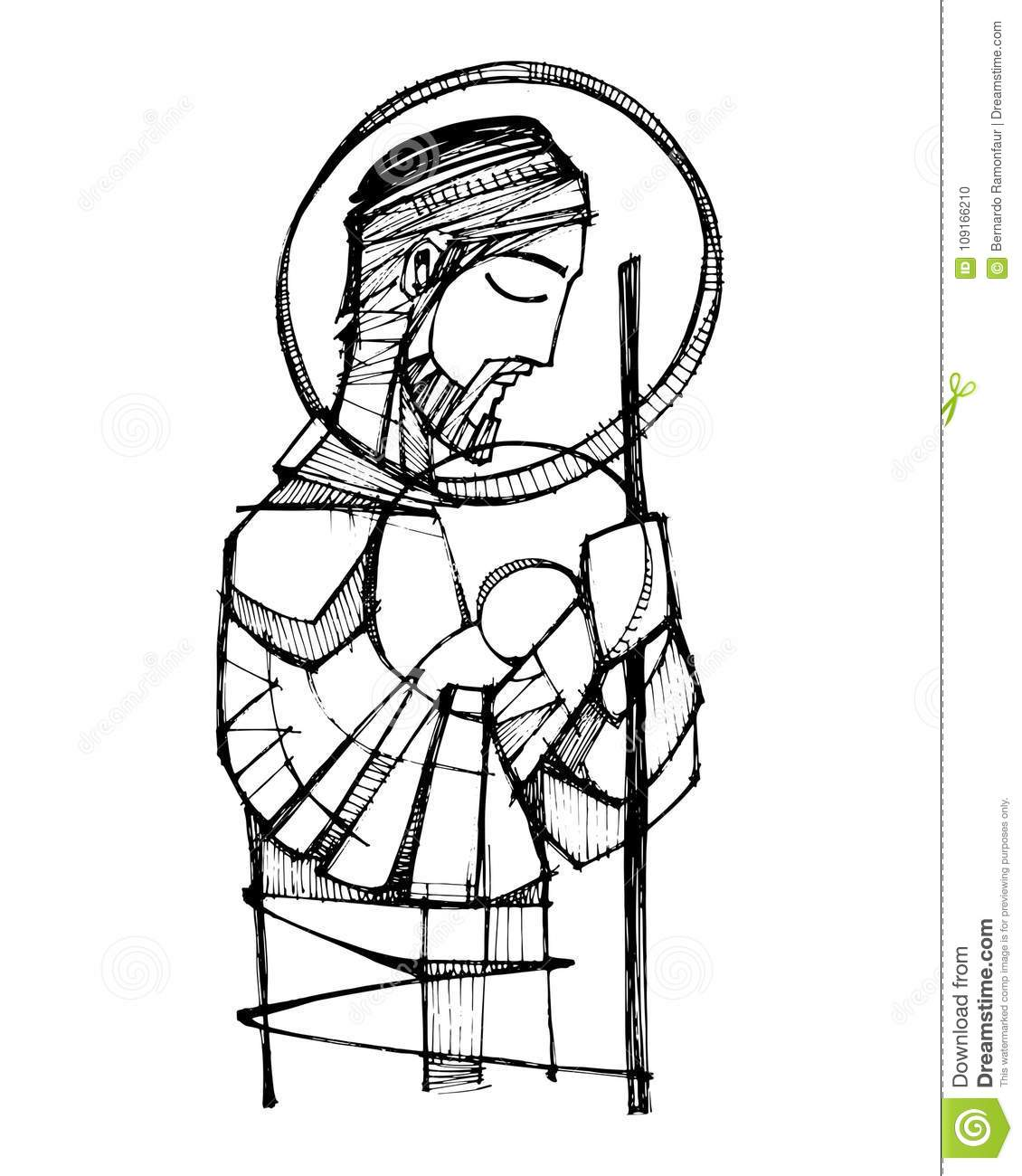 Saint Joseph And Baby Jesus Ink Illustration Stock Vector