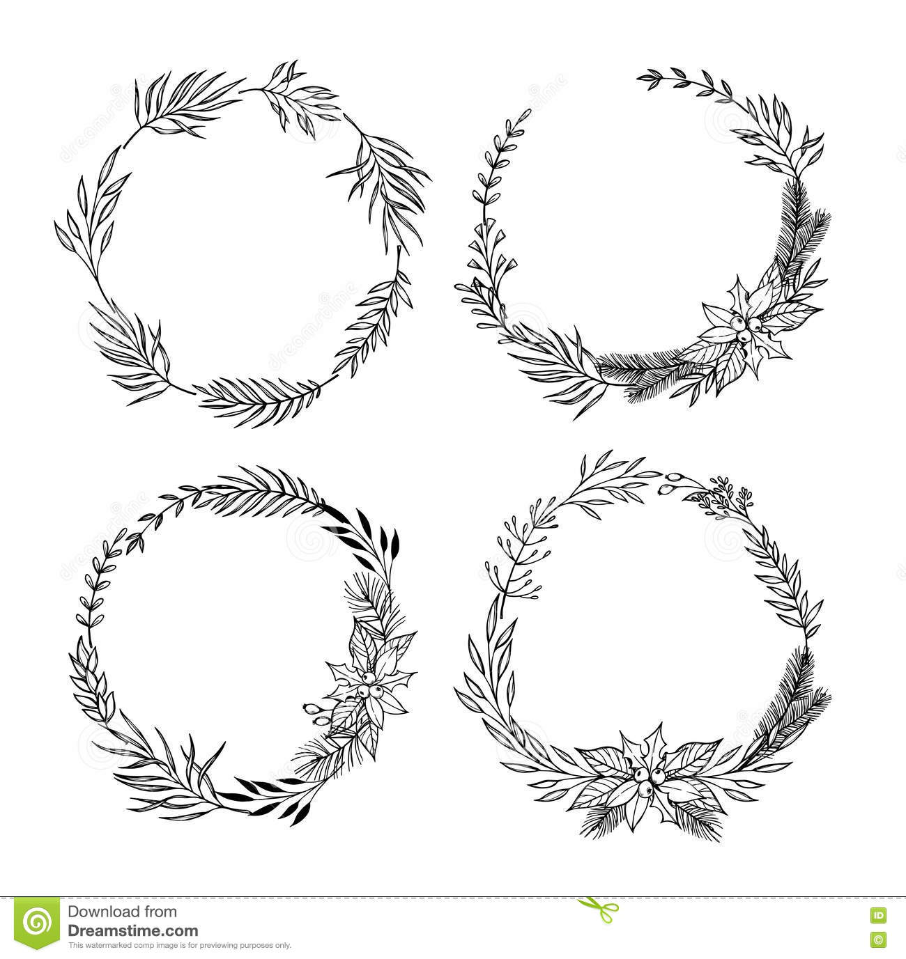 Hand Drawn Vector Set Of Christmas Wreaths Ristmas