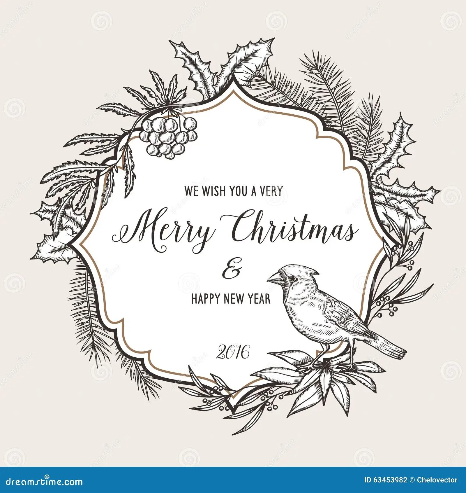 Hand Drawn Vintage Christmas Greeting Card Happy Stock