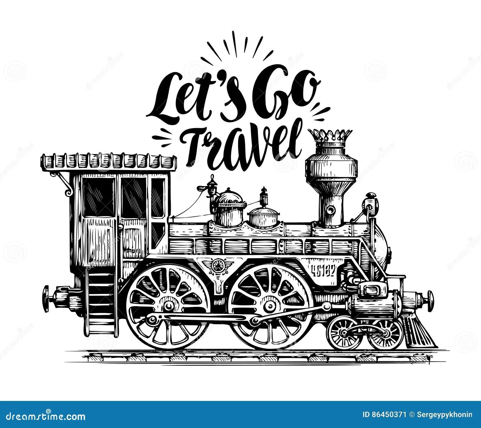 Hand Drawn Vintage Locomotive Steam Train Transport