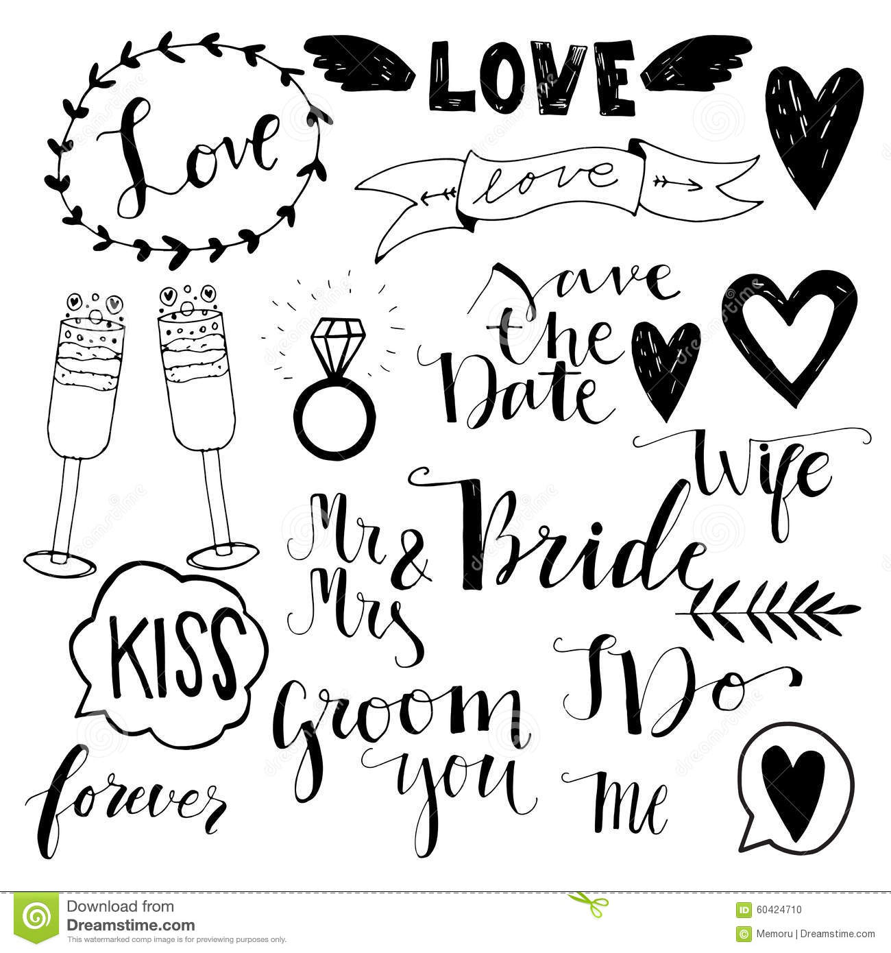 Hand Drawn Wedding Doodle Icons Stock Vector
