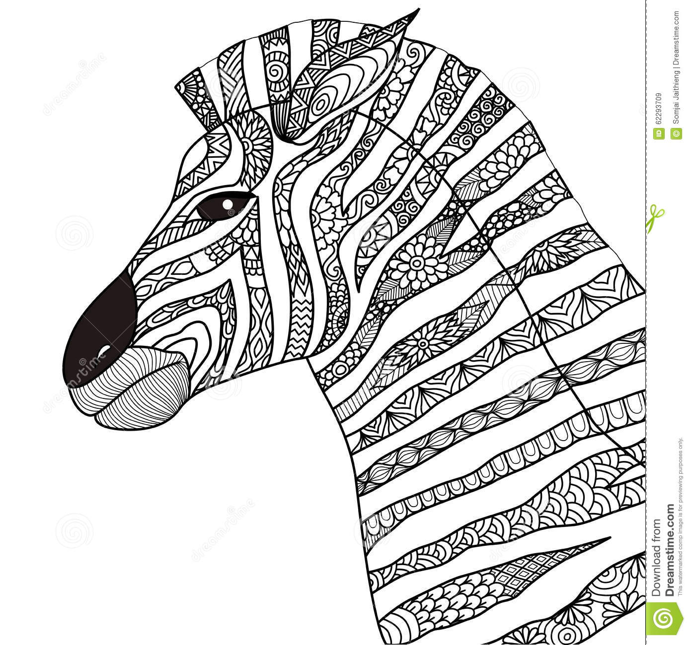 Hand Drawn Zebra Zentangle Style For Coloring Book Tattoo T Shirt Design Logo Stock Vector