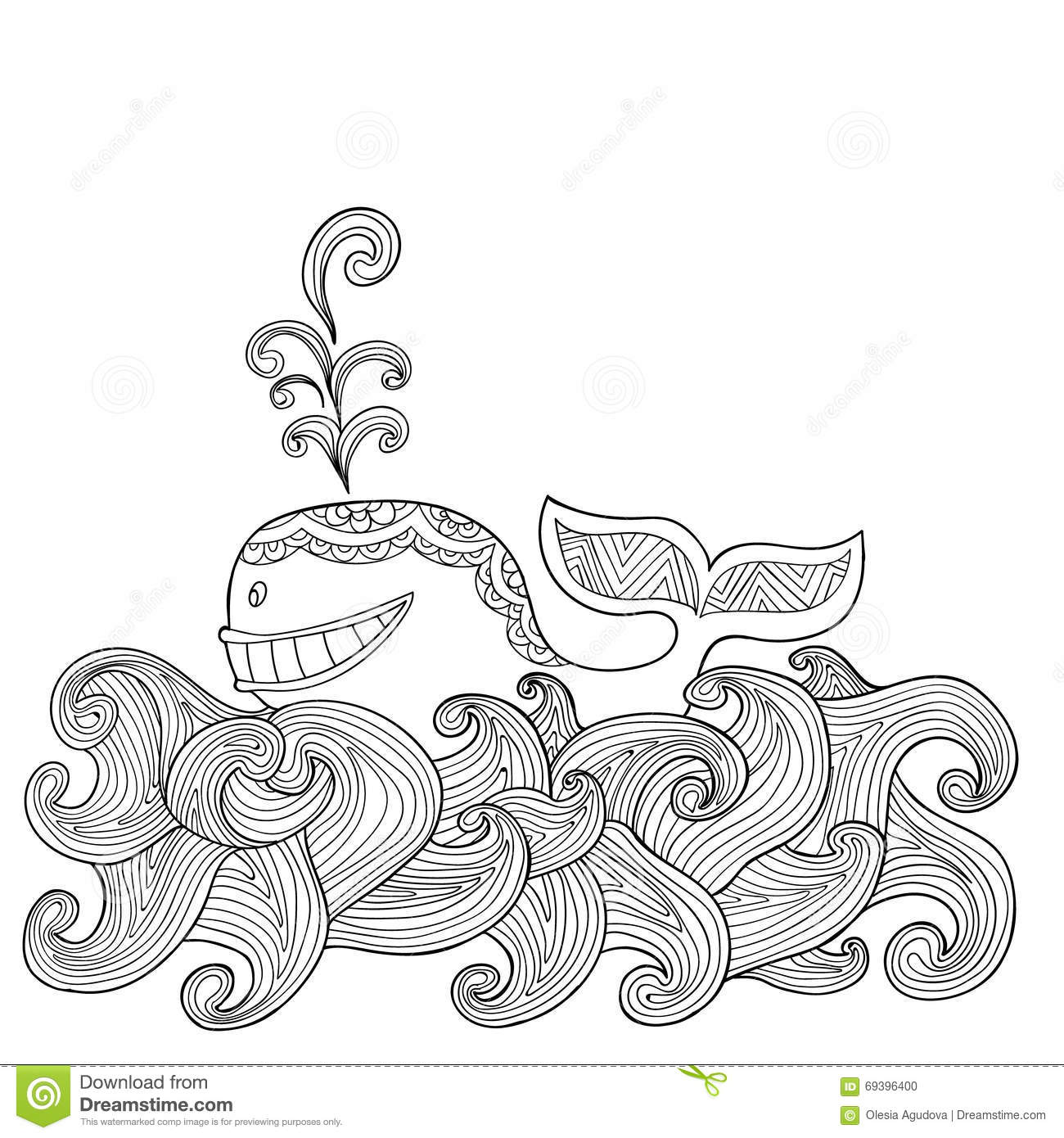 Dolphin Zentangle Vector Illustration