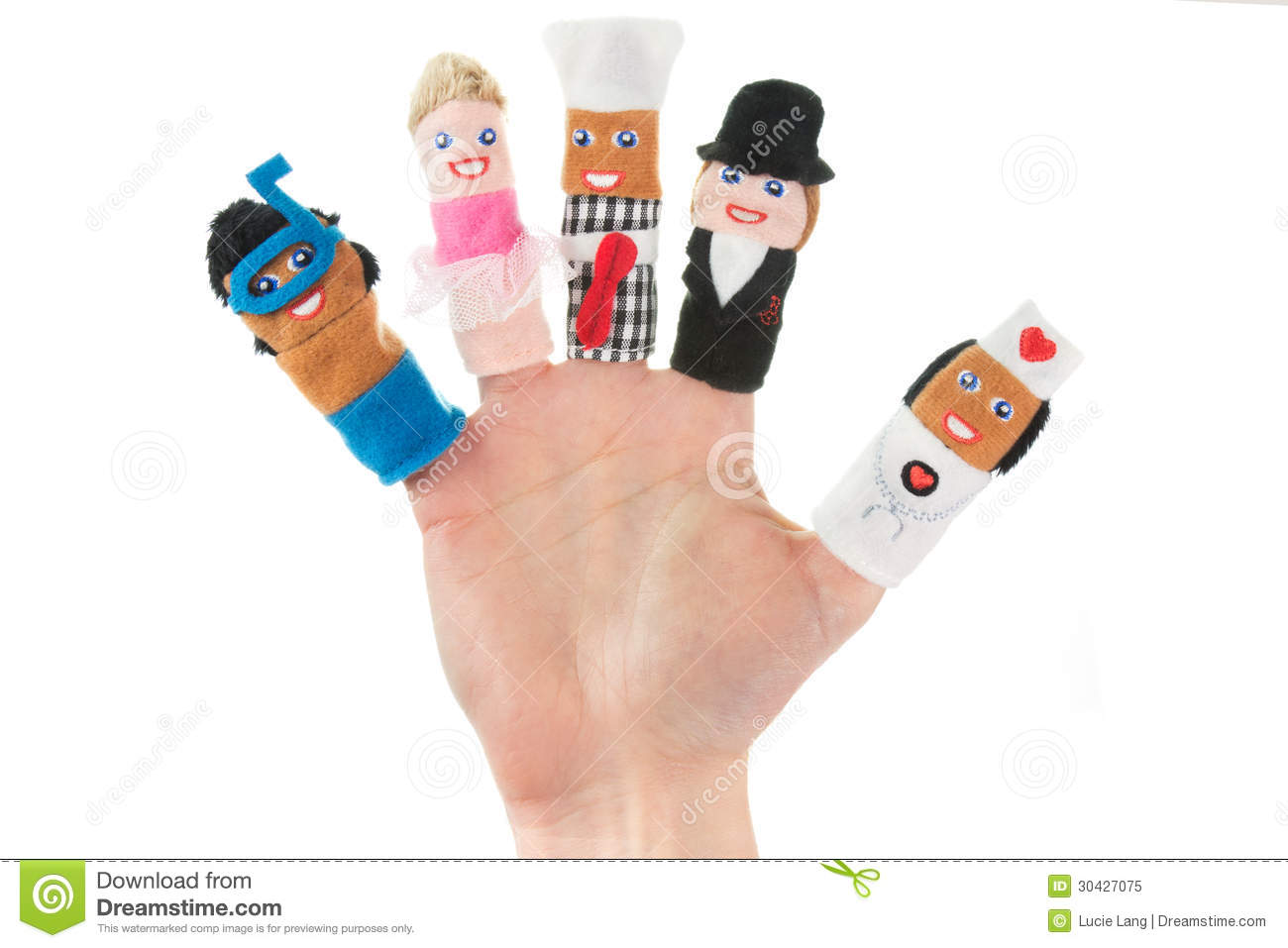 Hand Holding Five Finger Puppets Stock Image