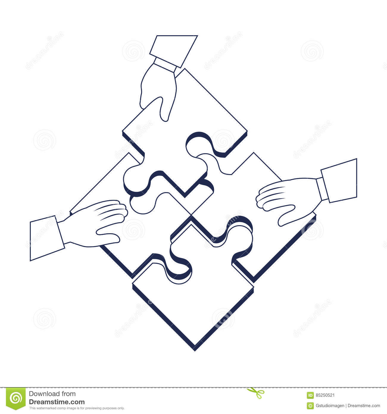 Hand Human With Puzzle Pieces Game Icon Stock Illustration