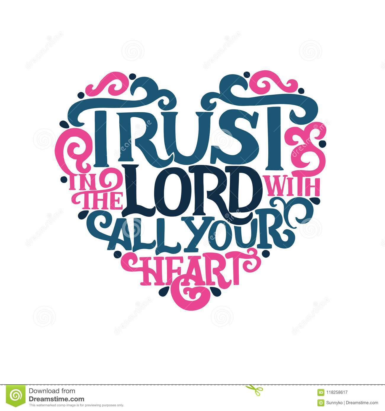 Hand Lettering With Bible Verse Trust In The Lord With