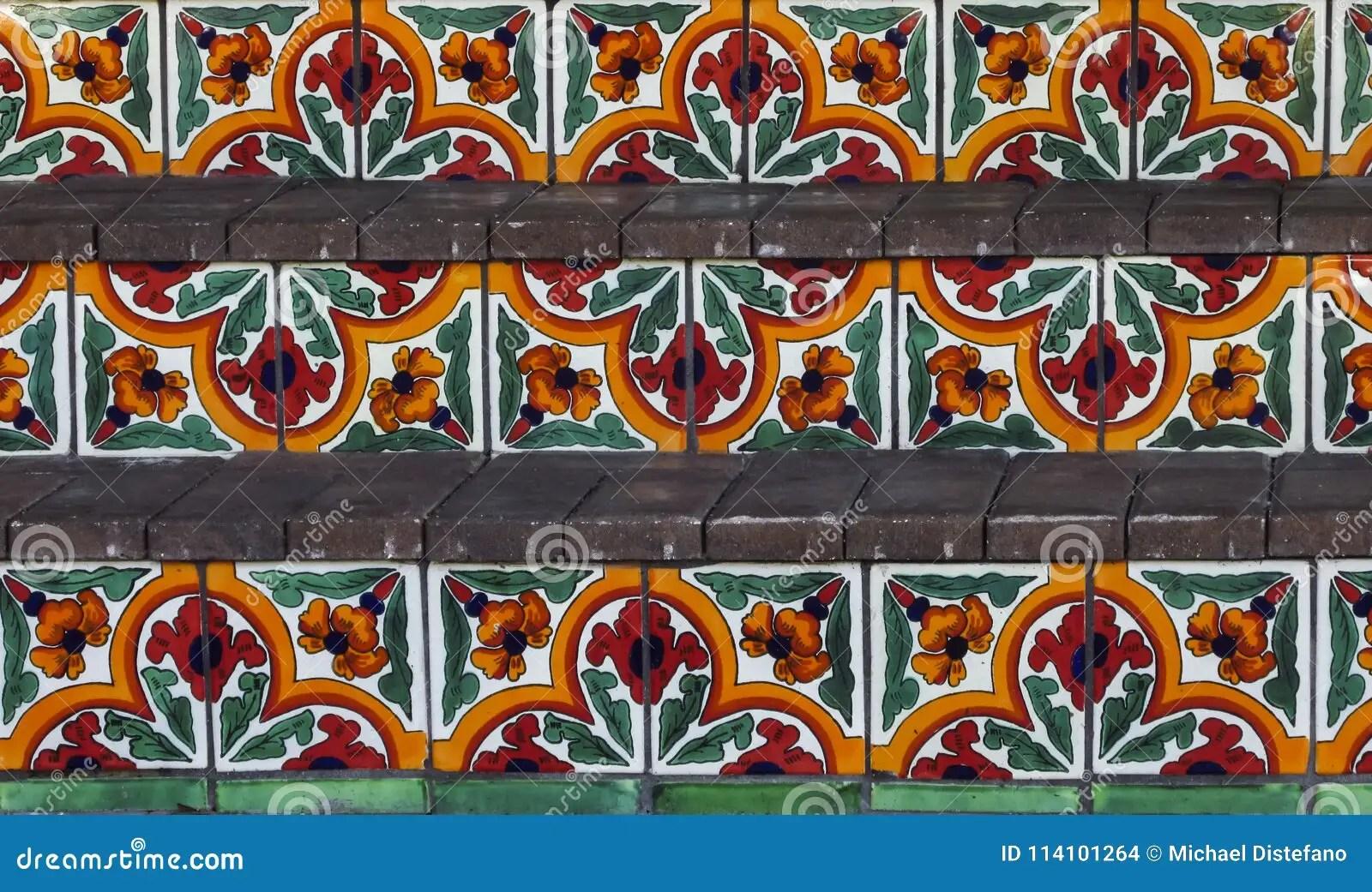 https www dreamstime com hand painted green red orange spanish tile steps hand painted spanish tile steps image114101264