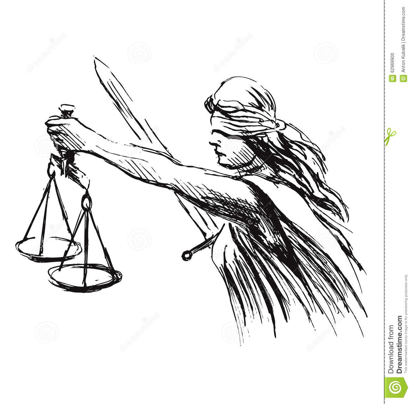 Hand Sketch Allegory Of Justice Stock Vector