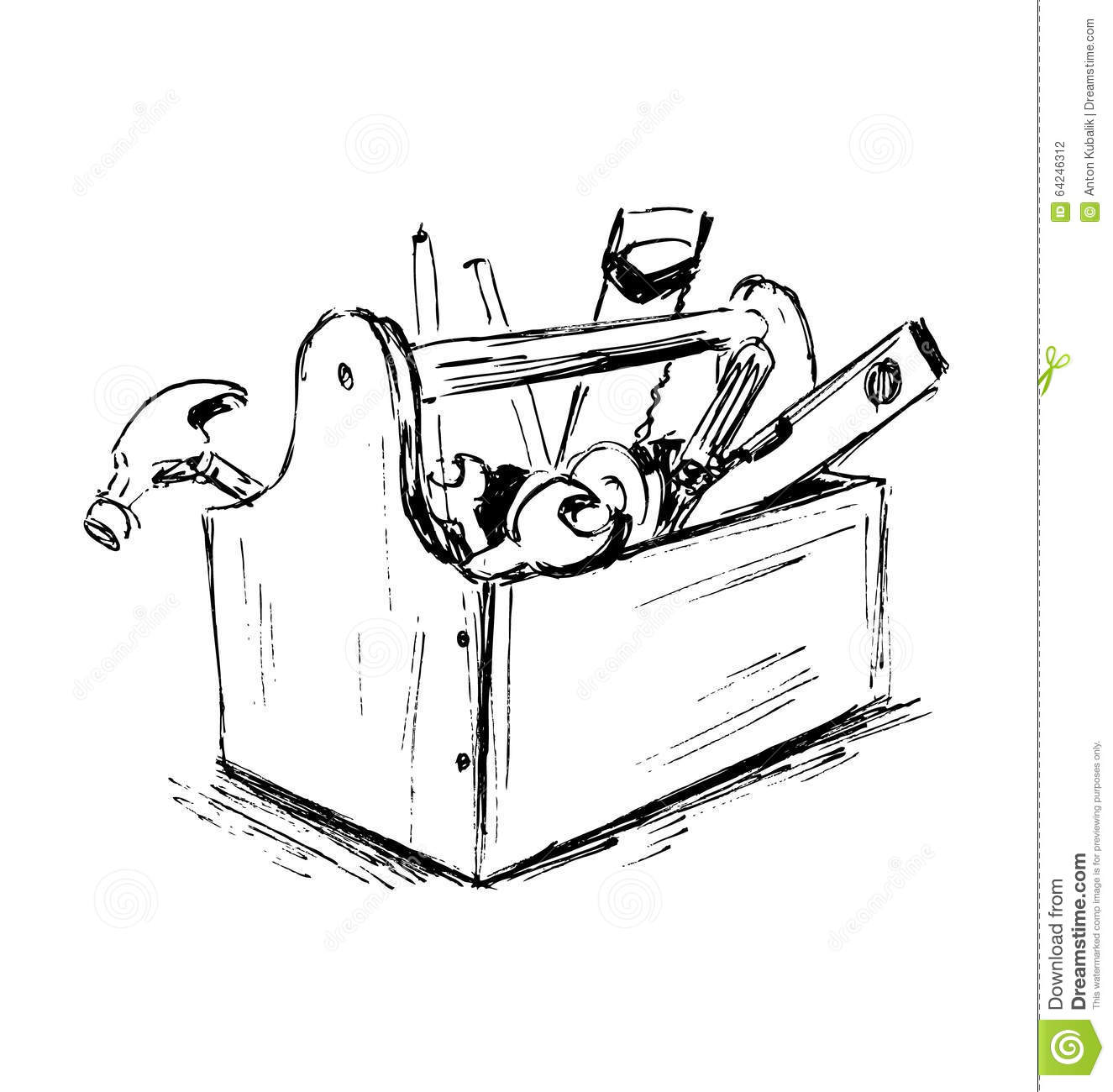 Hand Sketch The Box With Tools Stock Vector