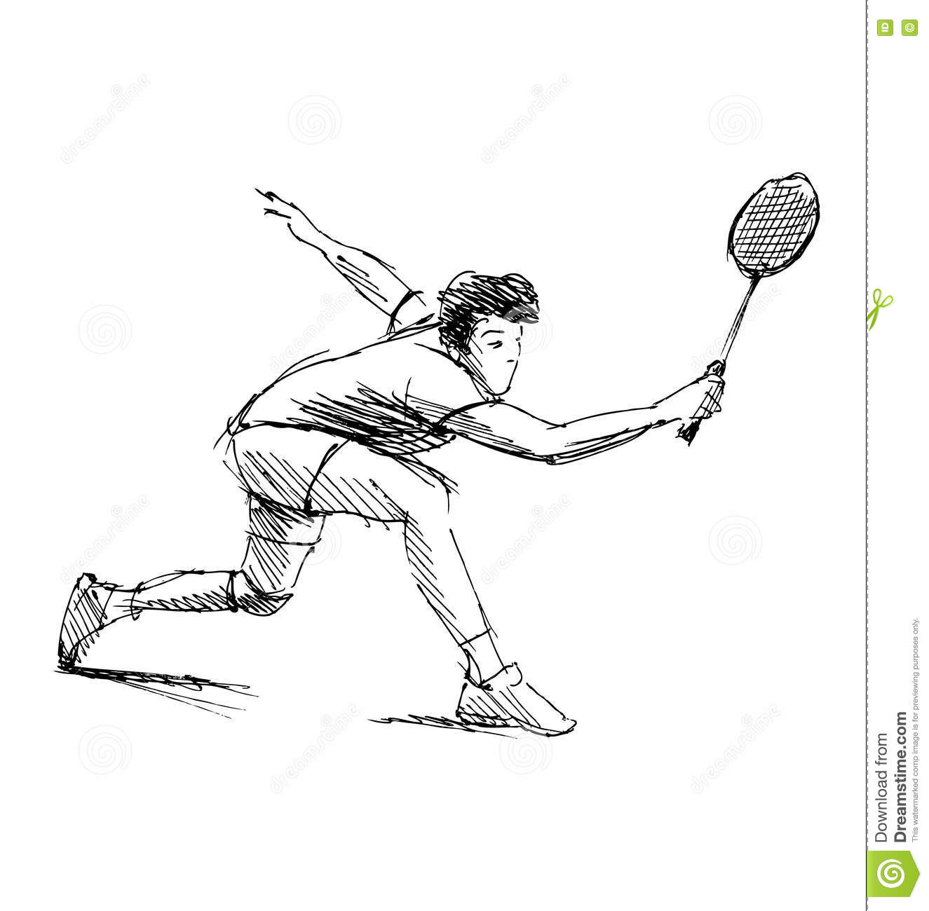 Hand Sketch Man Playing Badminton Stock Vector