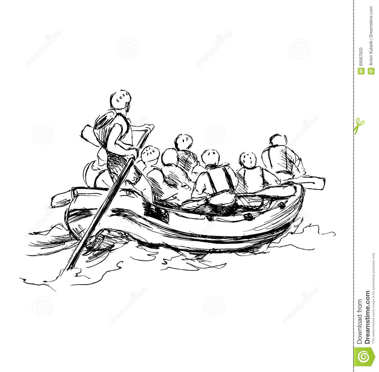 Hand Sketch Of People On A Raft Stock Vector